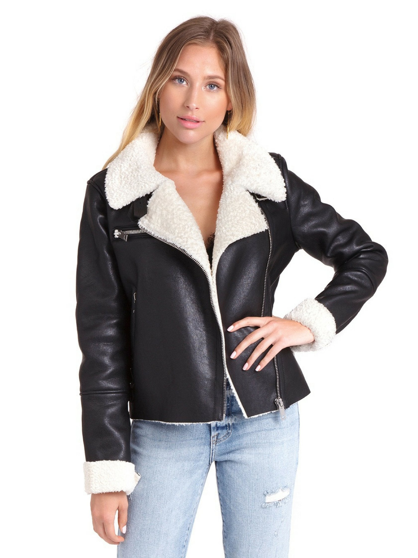 Woman wearing a jacket rental from BLANKNYC called Silent Night Jacket
