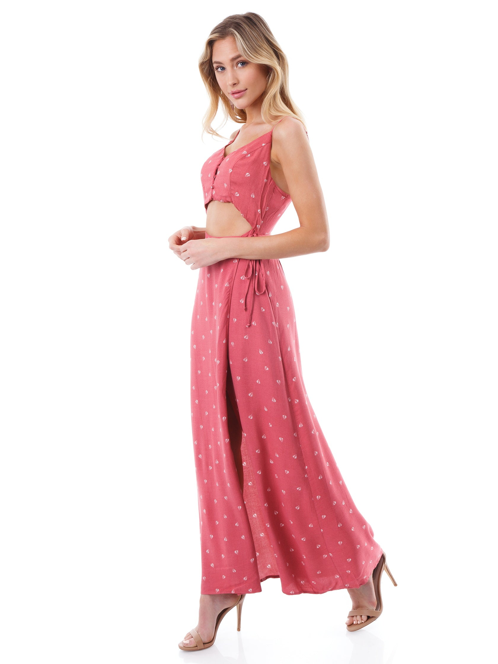 Woman wearing a dress rental from Lush called Sleeveless Wrap Maxi Dress