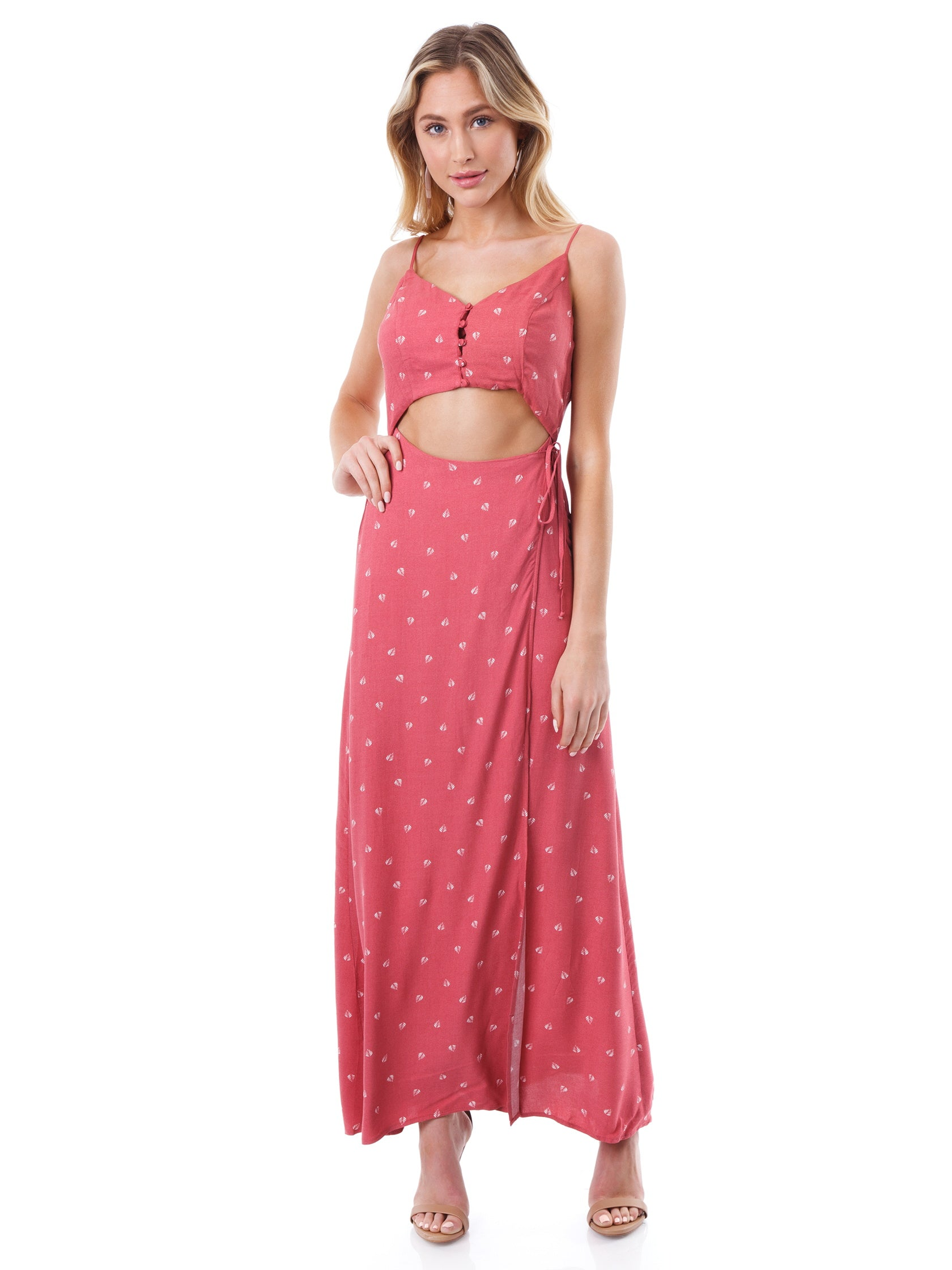 Girl outfit in a dress rental from Lush called Sleeveless Wrap Maxi Dress