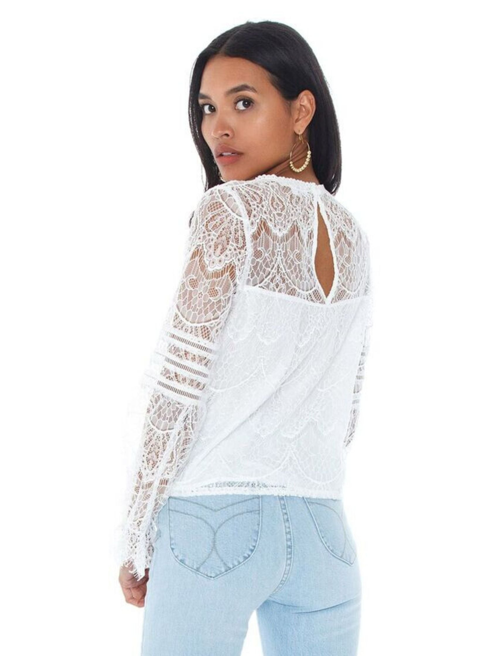 Women outfit in a top rental from BB Dakota called Smoke And Mirrors Lace Blouse