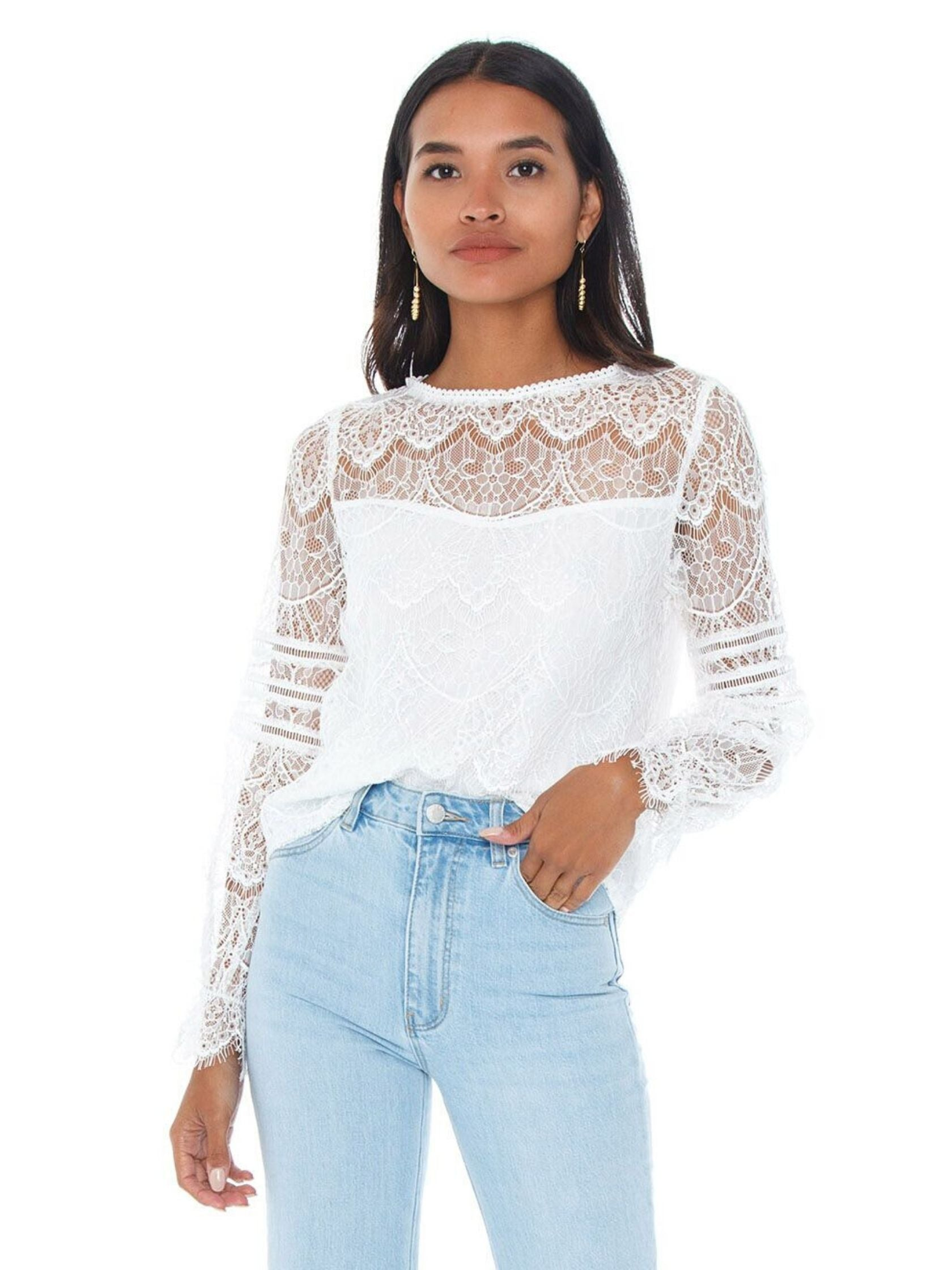 Woman wearing a top rental from BB Dakota called Smoke And Mirrors Lace Blouse