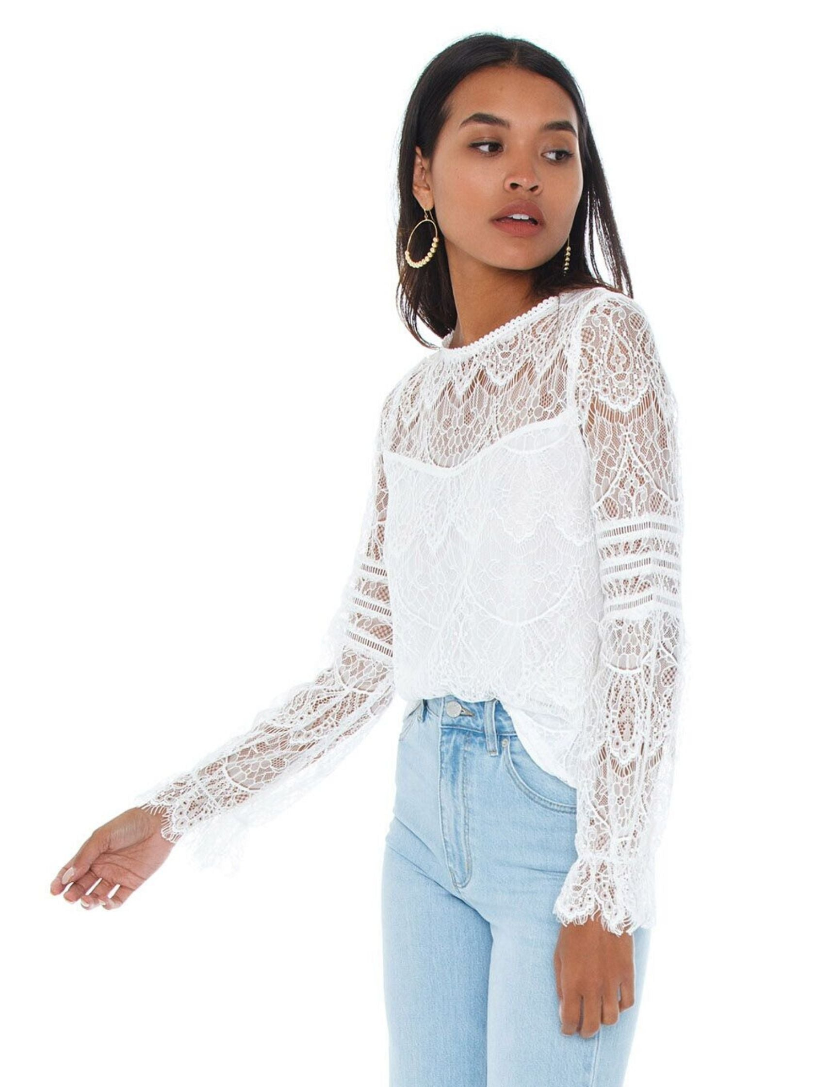 Women wearing a top rental from BB Dakota called Smoke And Mirrors Lace Blouse