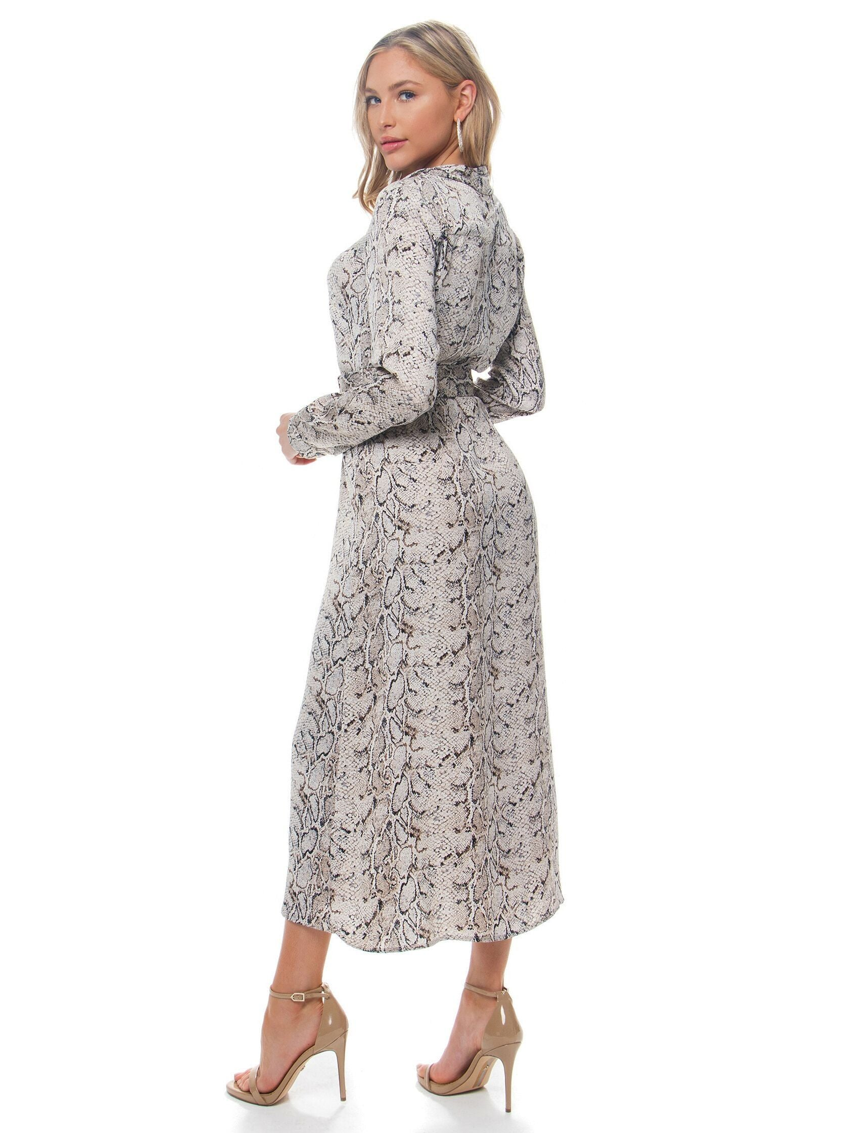 Women outfit in a dress rental from BARDOT called Snake Shirt Dress