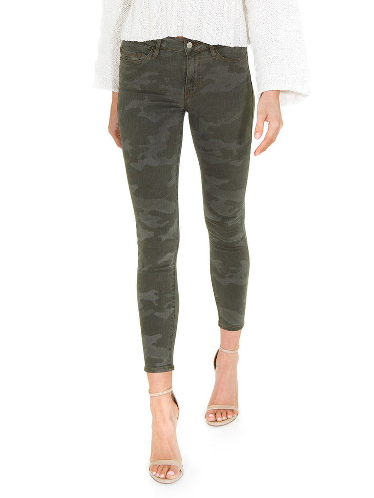 Women wearing a denim rental from SANCTUARY called Social Standard Camo Ankle Skinny Jean