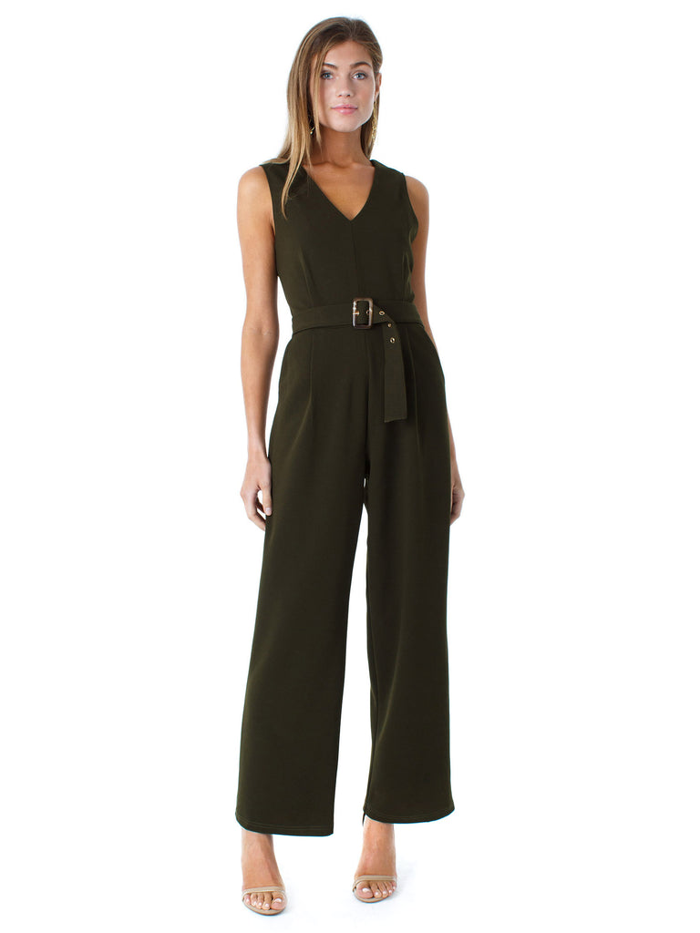 Women wearing a jumpsuit rental from Bishop + Young called Florentina Wrap Dress