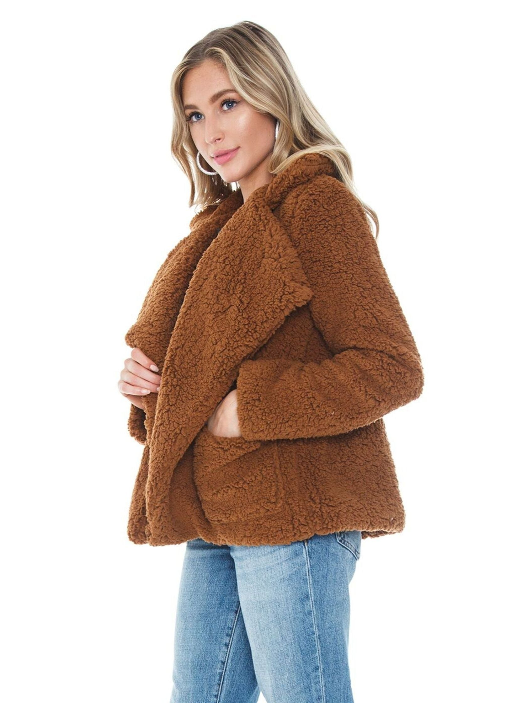 Women wearing a jacket rental from BB Dakota called Soft Skills Faux Fur Jacket