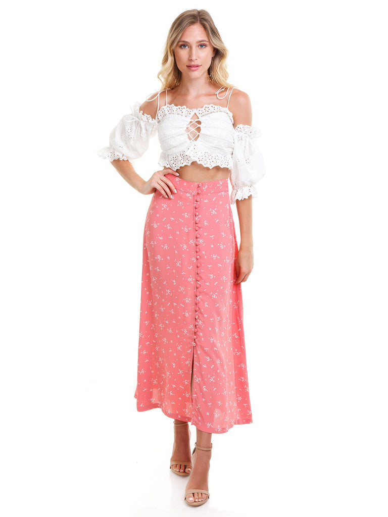 Woman wearing a skirt rental from Flynn Skye called Monica Maxi Dress