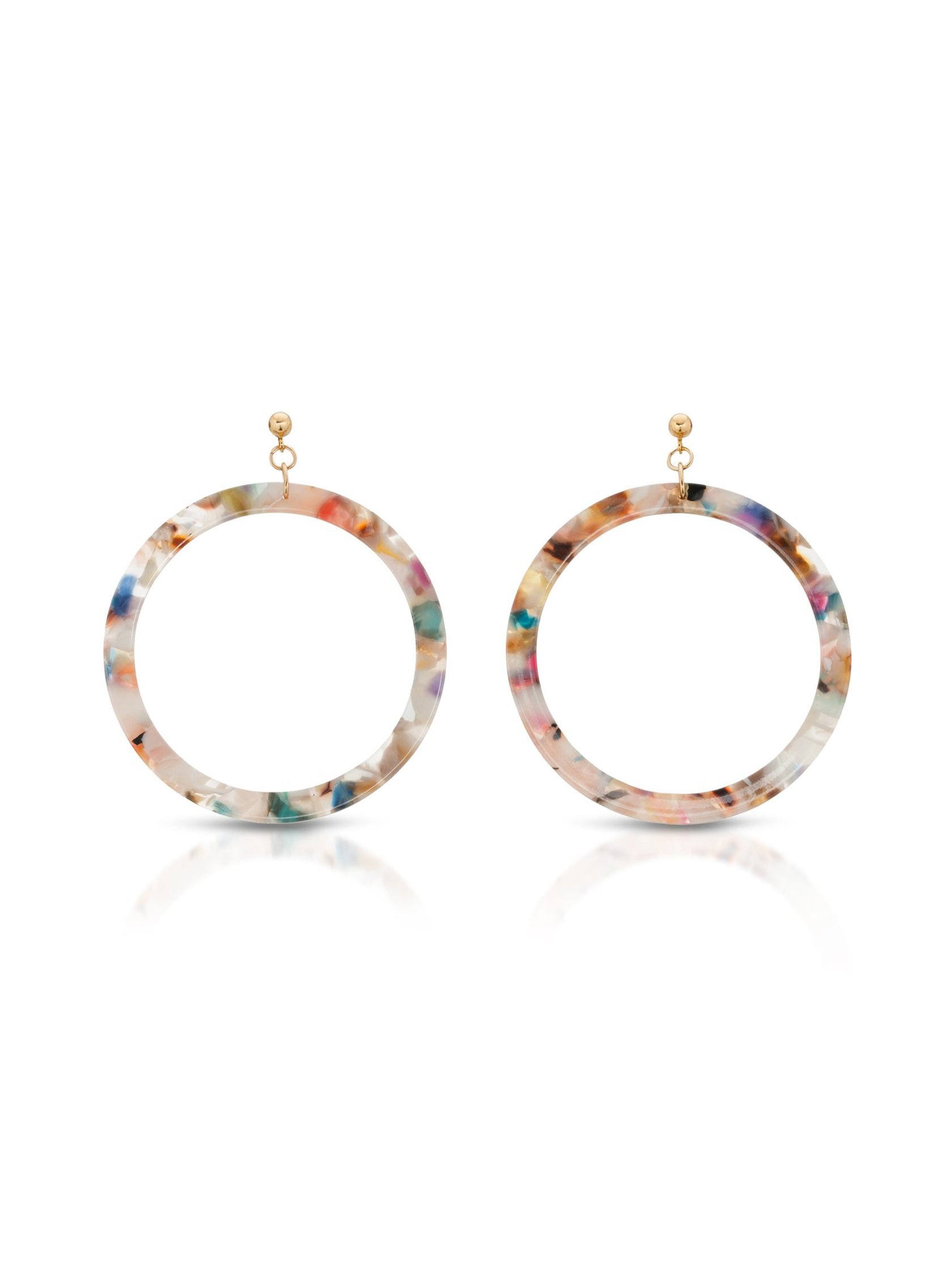 Women outfit in a earrings rental from JOY DRAVECKY called St. Tropez Multi-color Hoop Earring