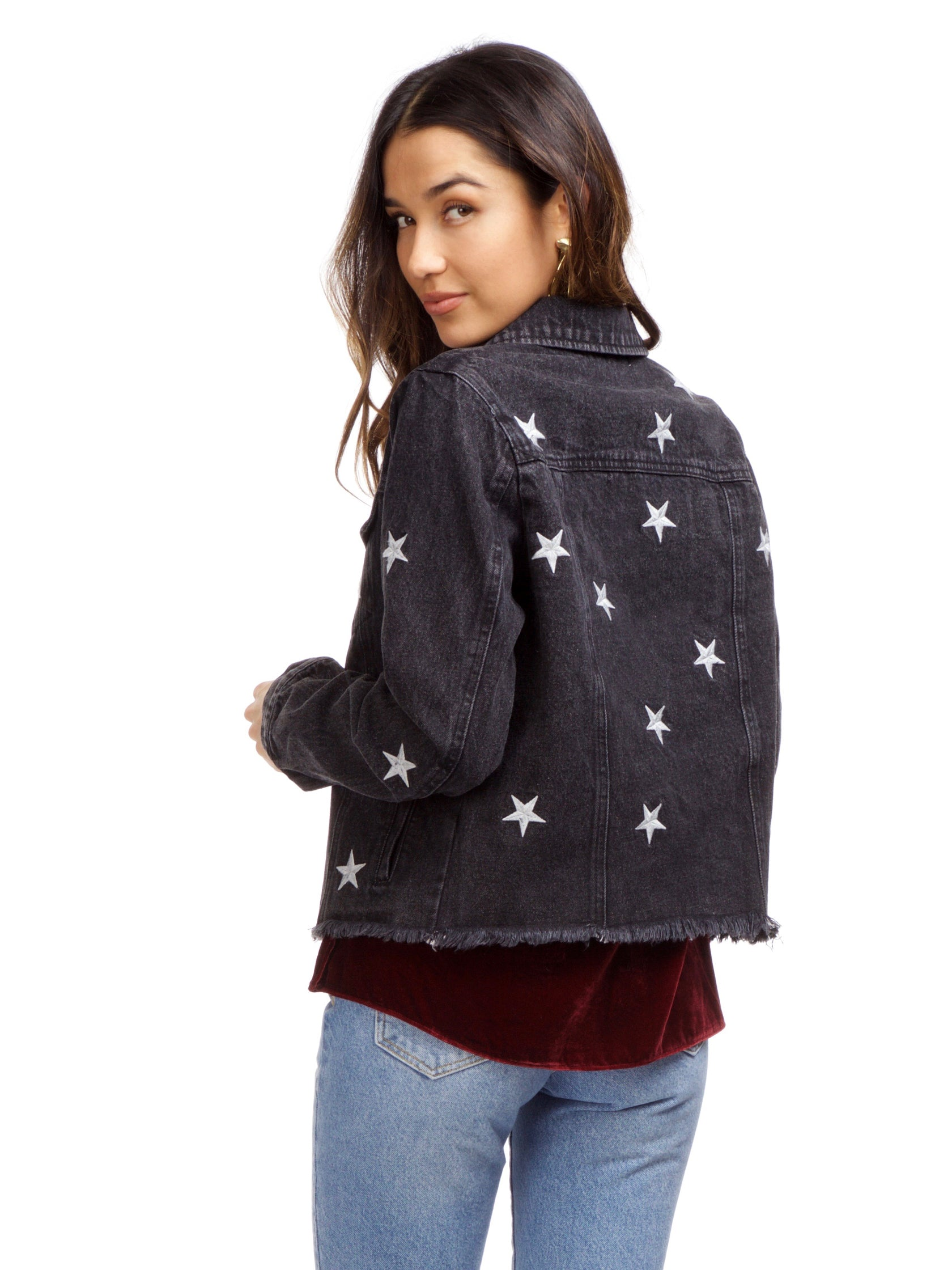 Women outfit in a jacket rental from FashionPass called Stardust Denim Jacket