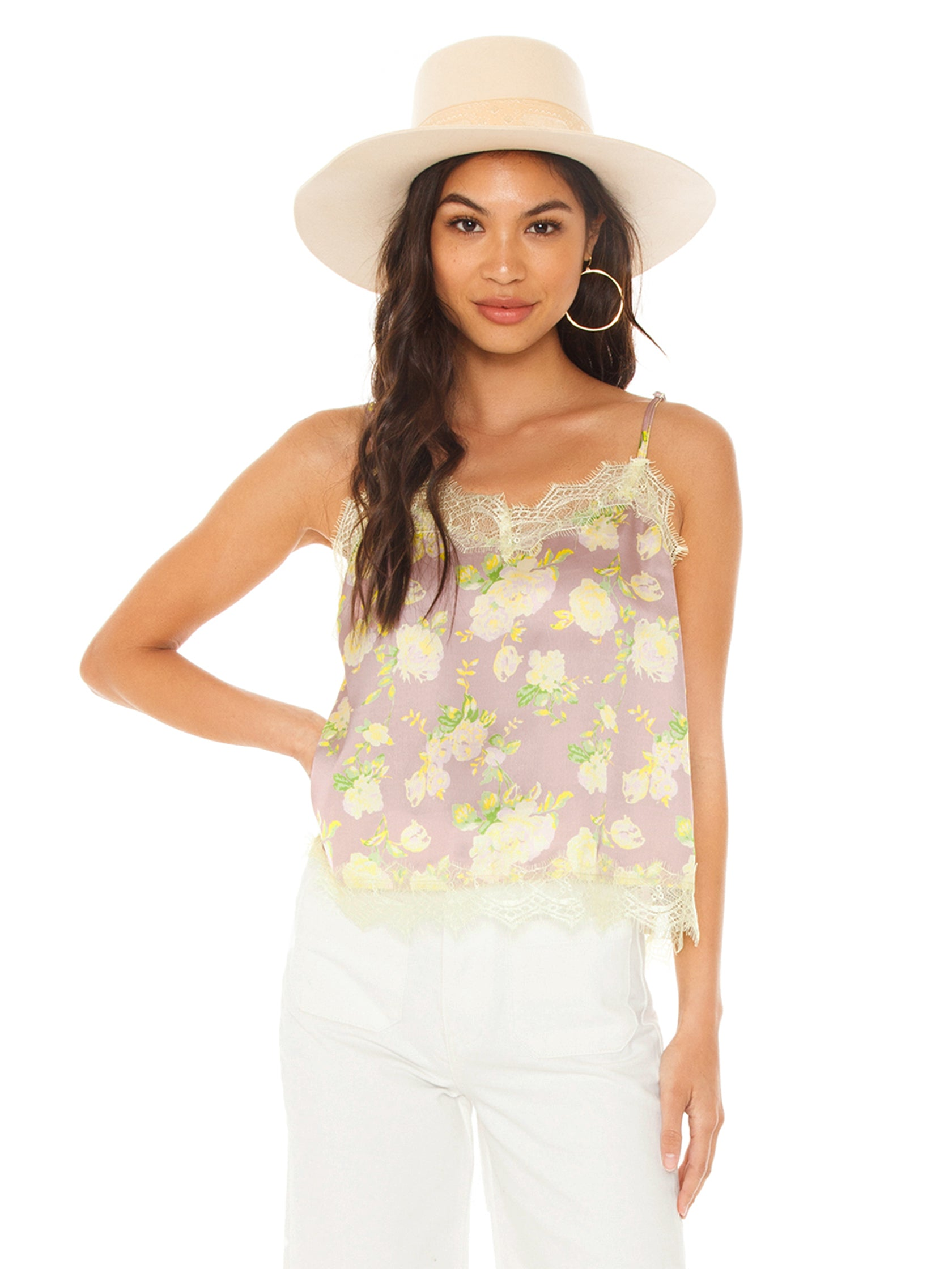 Woman wearing a top rental from FLETCH called Stella Floral Cami Top