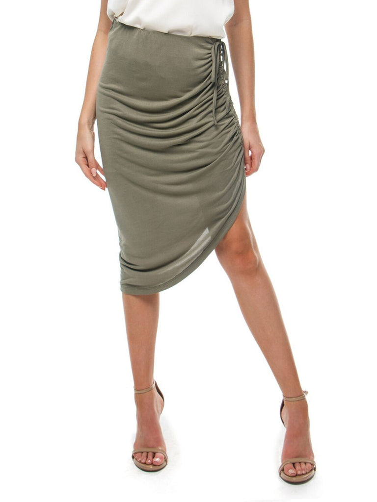 Women wearing a skirt rental from Heartloom called Sierra High Rise Fold Over Pencil Skirt