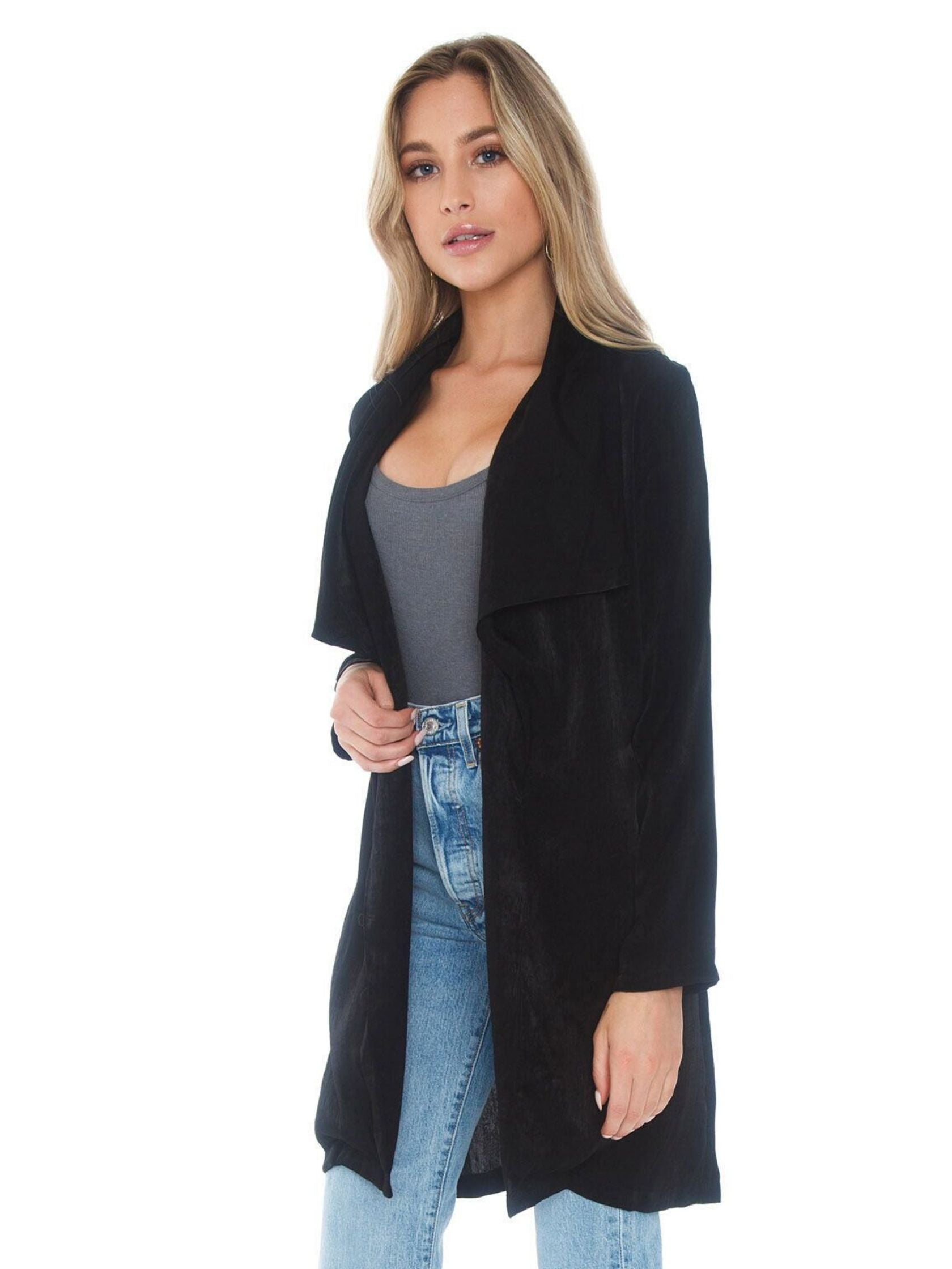 Women wearing a jacket rental from SAGE THE LABEL called Still The One Wrap Coat
