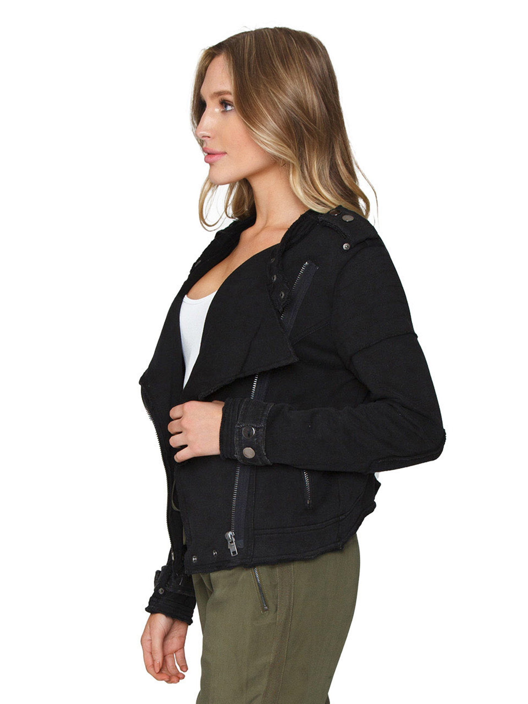 Women wearing a jacket rental from FashionPass called Stone Washed Moto Jacket