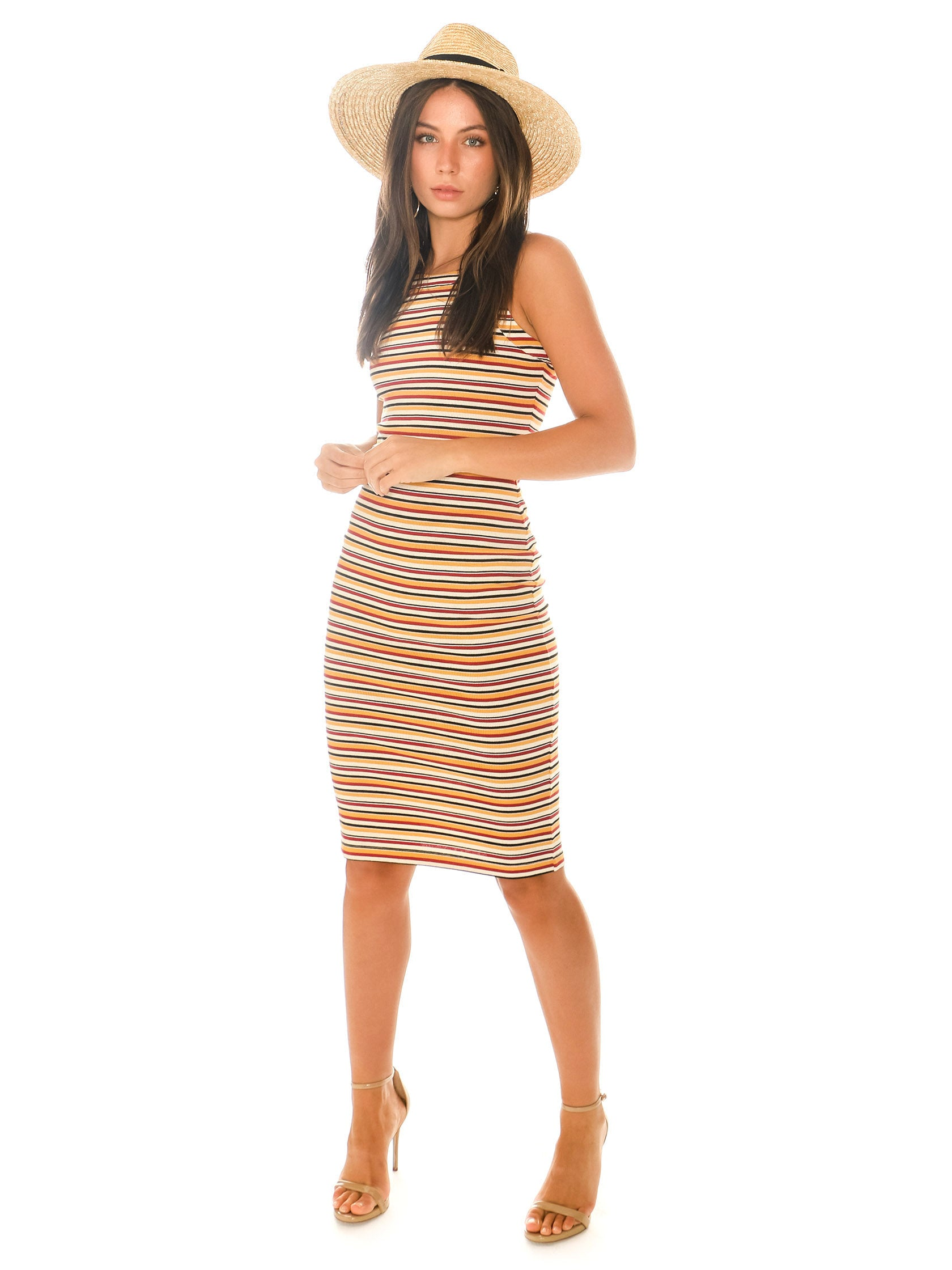 Girl outfit in a dress rental from 1.STATE called Stripe Dialogue Bodycon Knit Dress