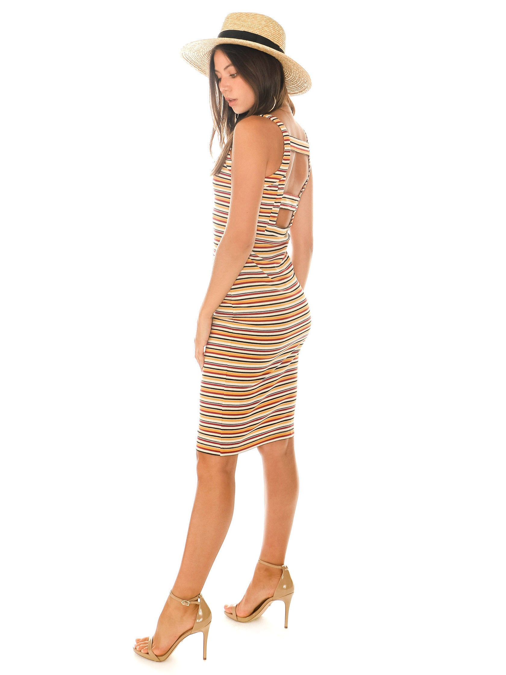 Woman wearing a dress rental from 1.STATE called Stripe Dialogue Bodycon Knit Dress