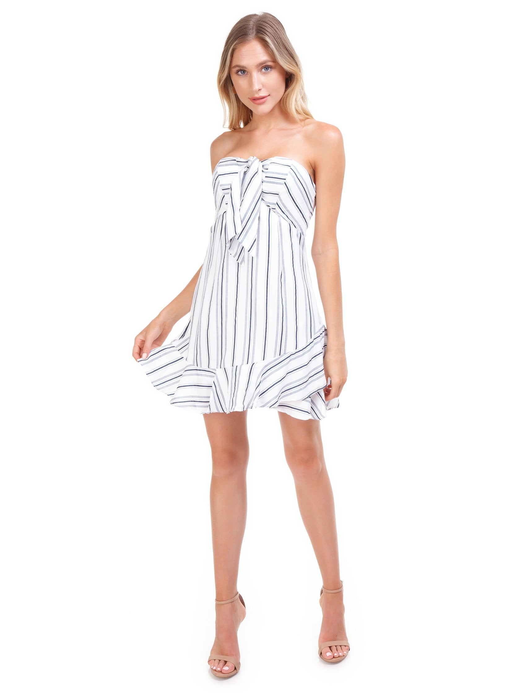 Girl outfit in a dress rental from Cotton Candy called Stripe Mini Dress
