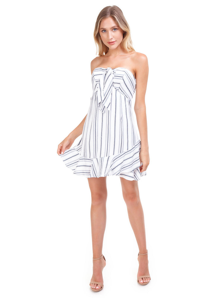 Women wearing a dress rental from Cotton Candy called Stripe Mini Dress