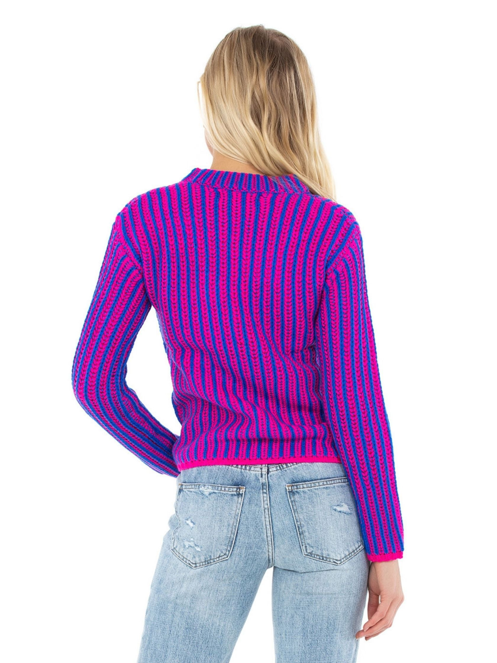 Women outfit in a sweater rental from Endless Rose called Stripe Mix Color Sweater