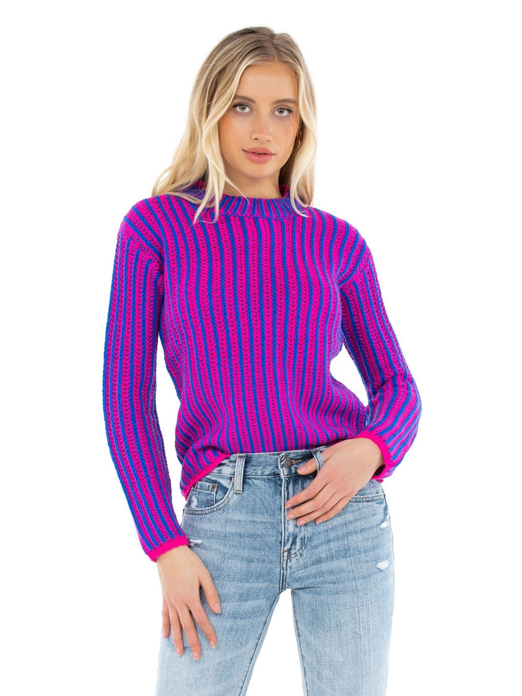 Woman wearing a sweater rental from Endless Rose called Stripe Mix Color Sweater