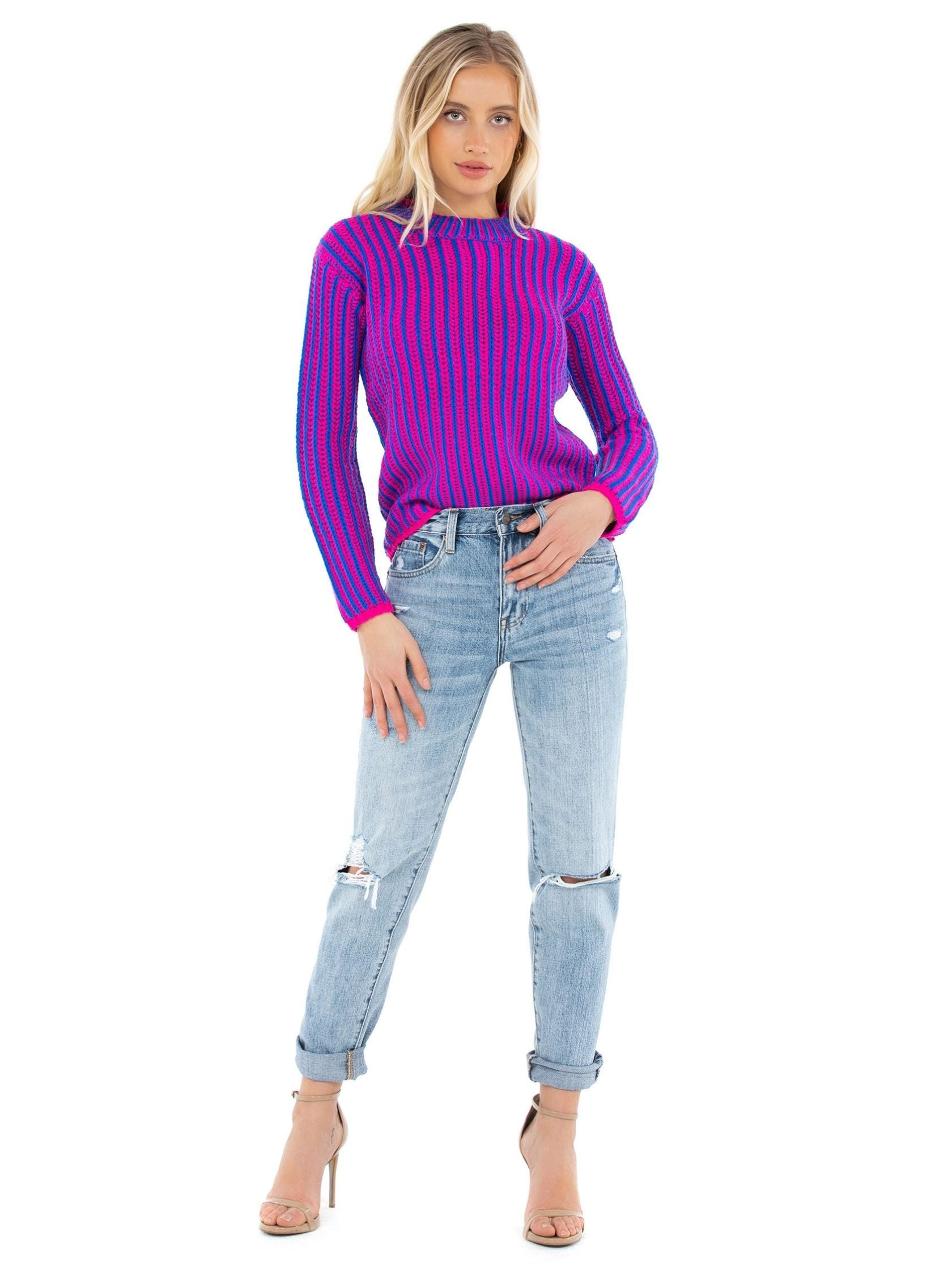 Girl wearing a sweater rental from Endless Rose called Stripe Mix Color Sweater