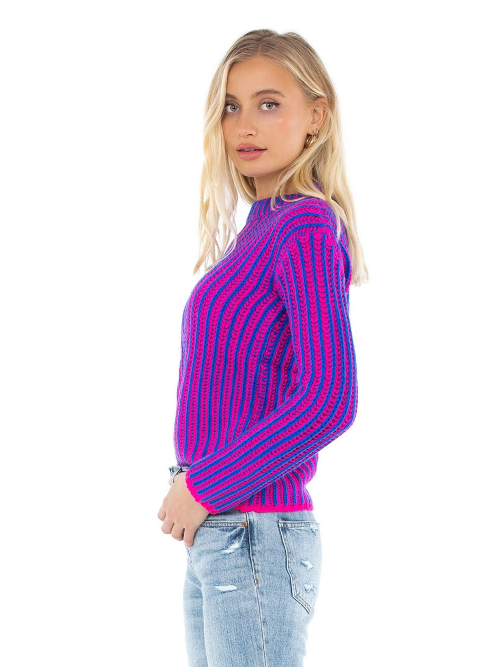 Women wearing a sweater rental from Endless Rose called Stripe Mix Color Sweater