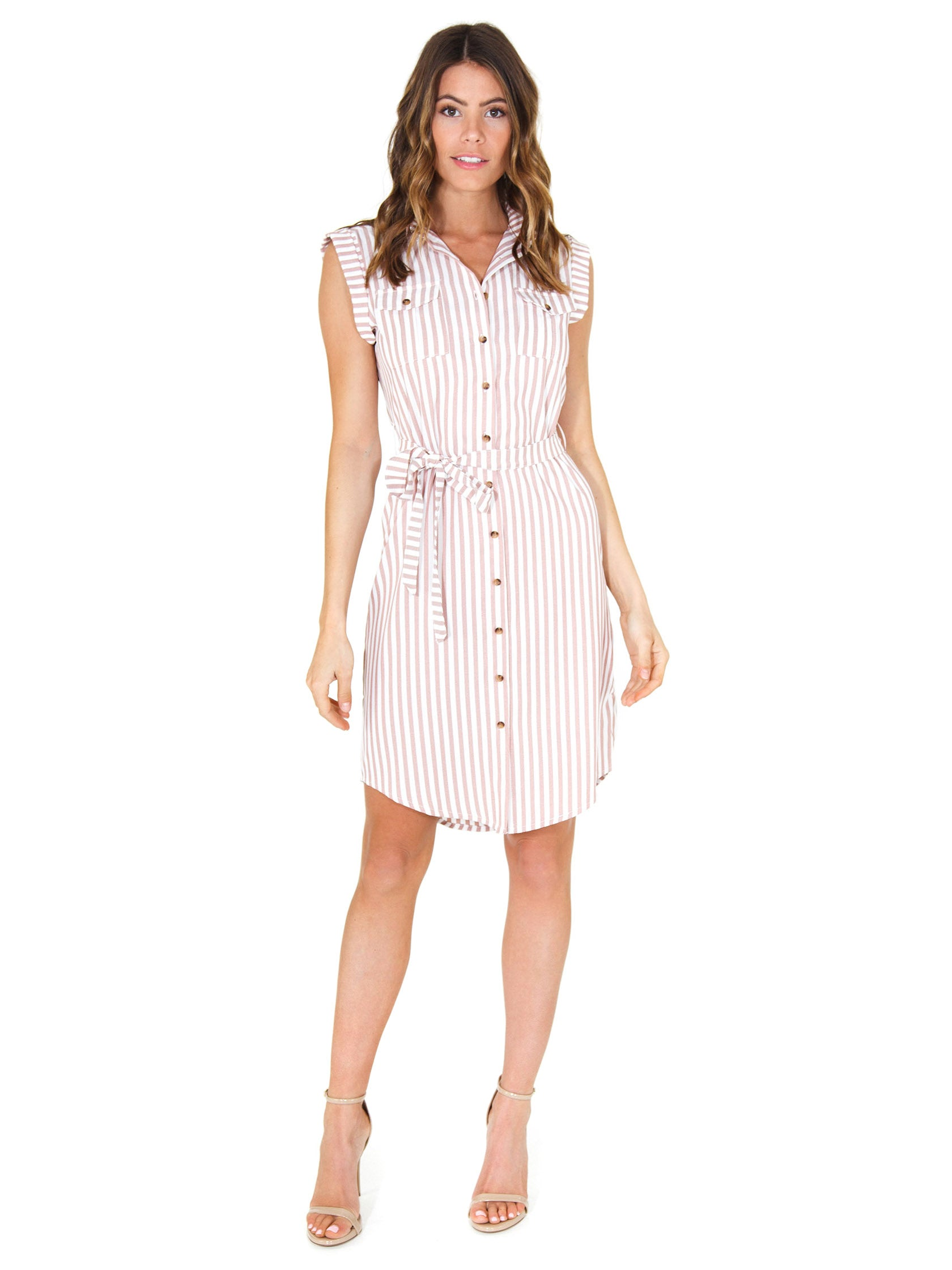 3a317205b148 Women outfit in a dress rental from Bishop + Young called Stripe Shirtdress