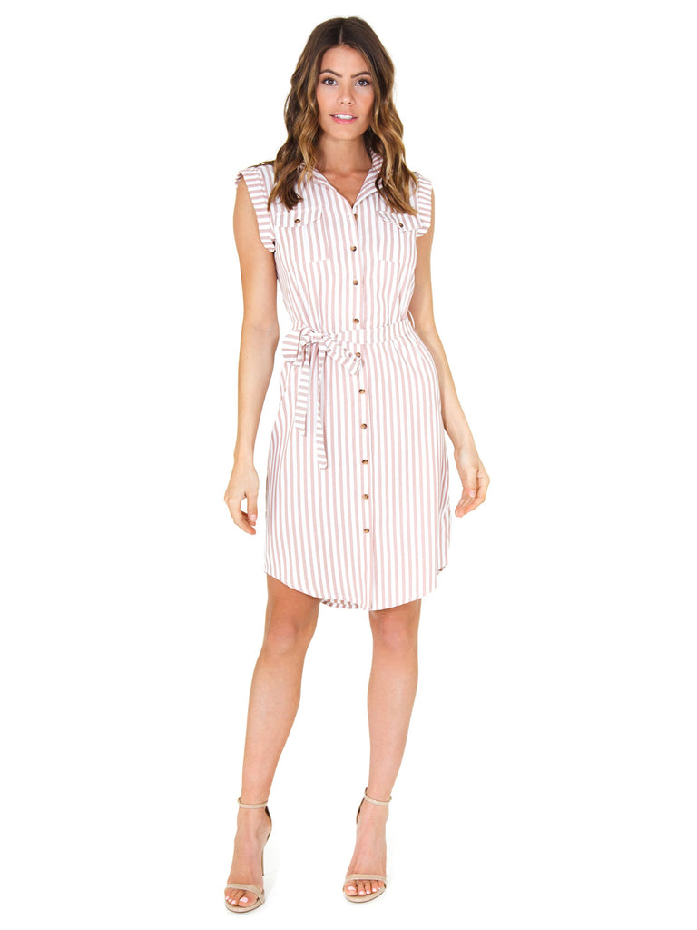 Women wearing a dress rental from Bishop + Young called Stripe Shirtdress