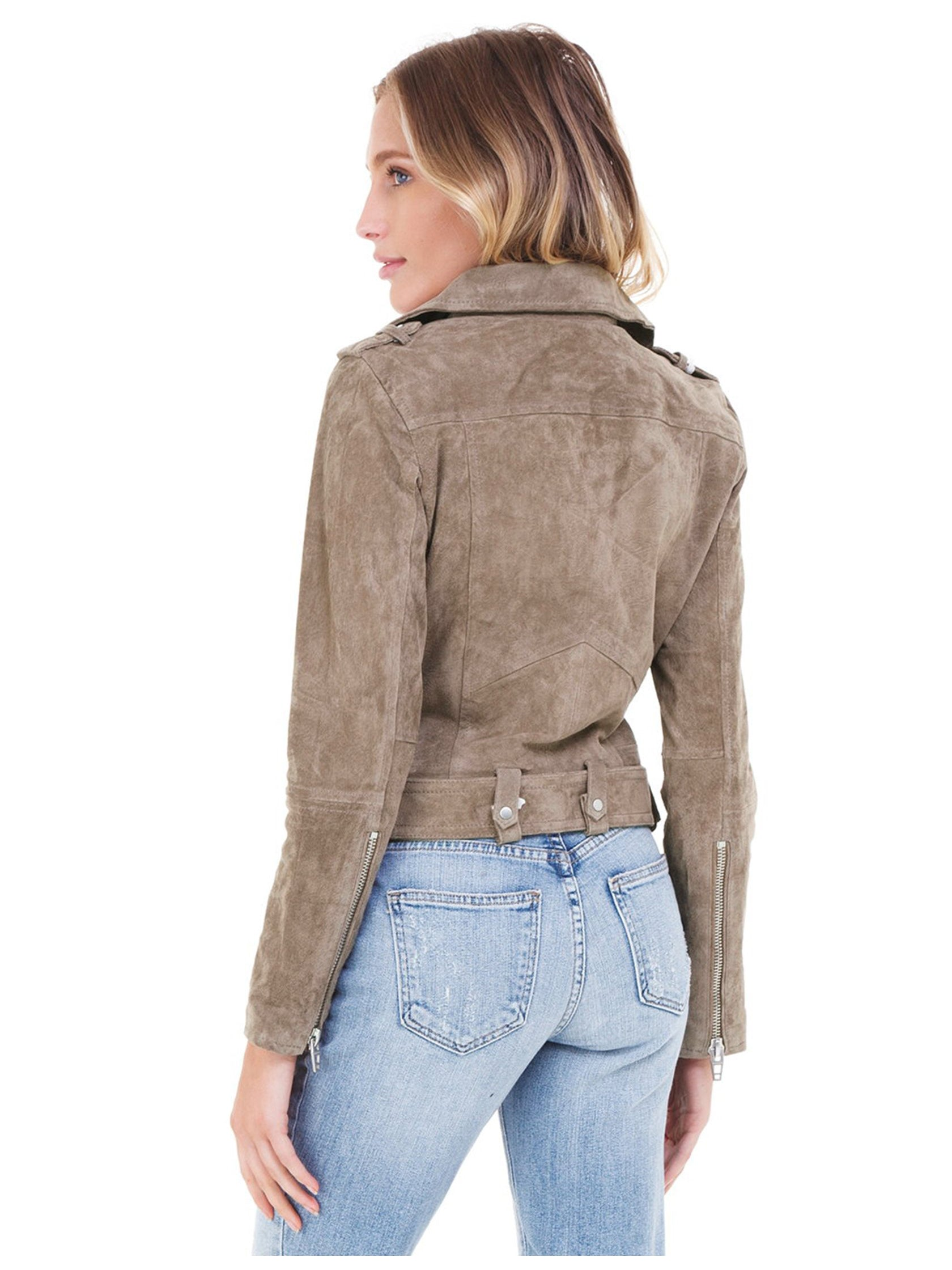 Women outfit in a jacket rental from BLANKNYC called Suede Moto Jacket