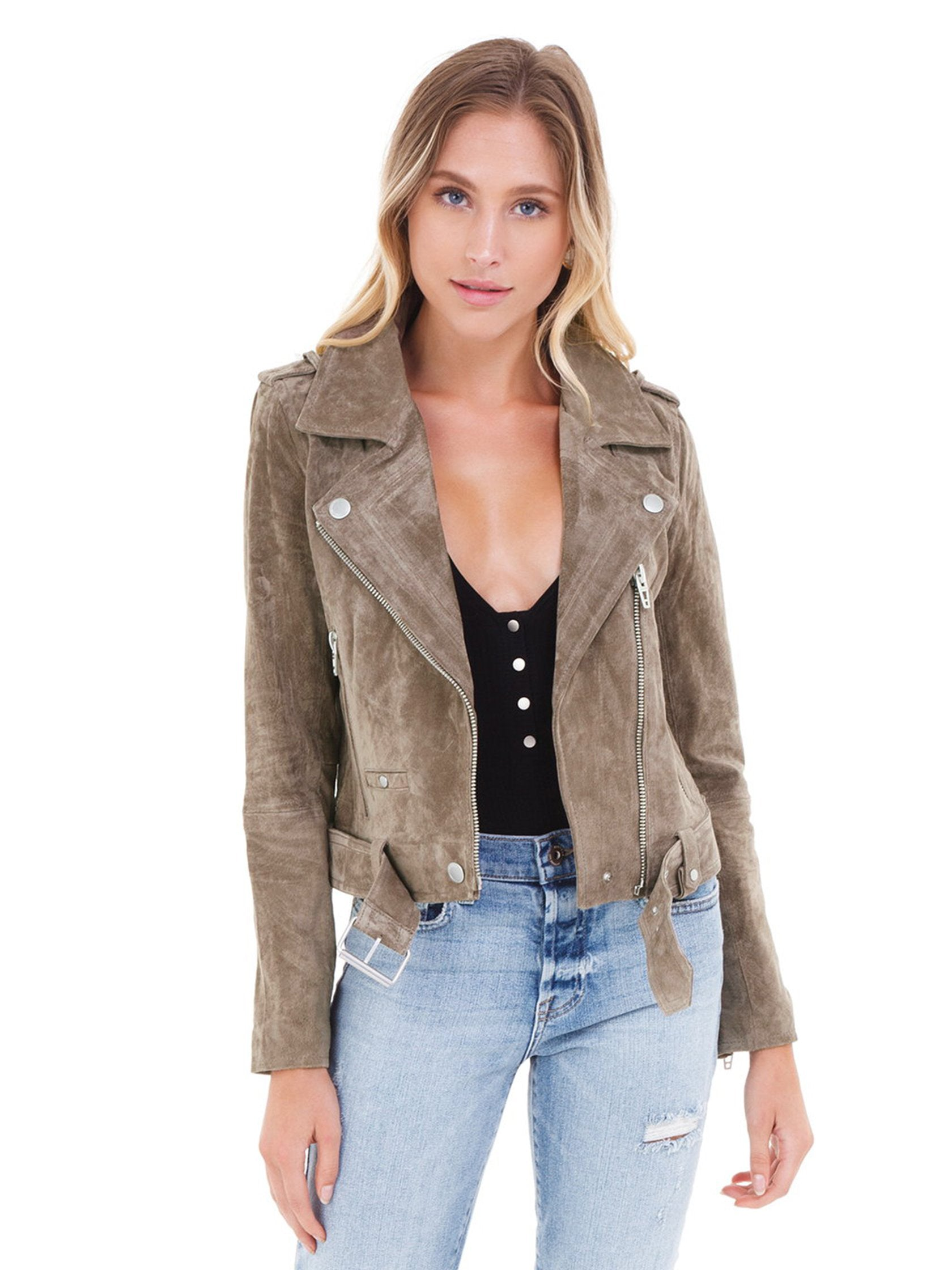 Woman wearing a jacket rental from BLANKNYC called Suede Moto Jacket