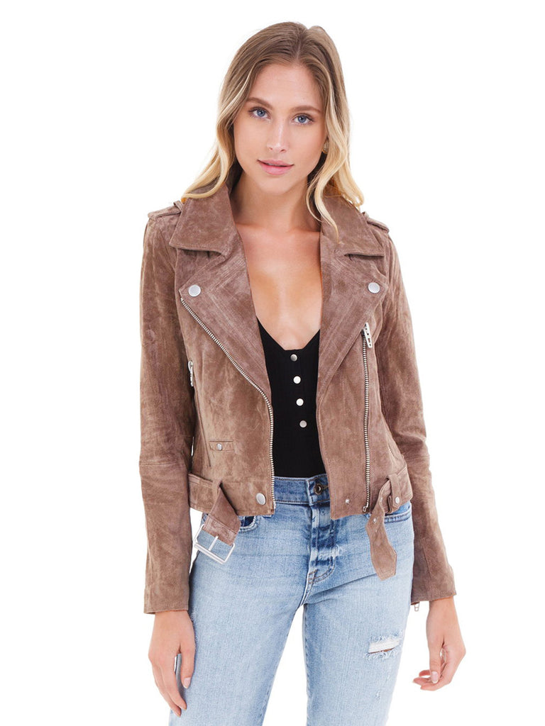 Women wearing a jacket rental from BLANKNYC called Suede Moto Jacket