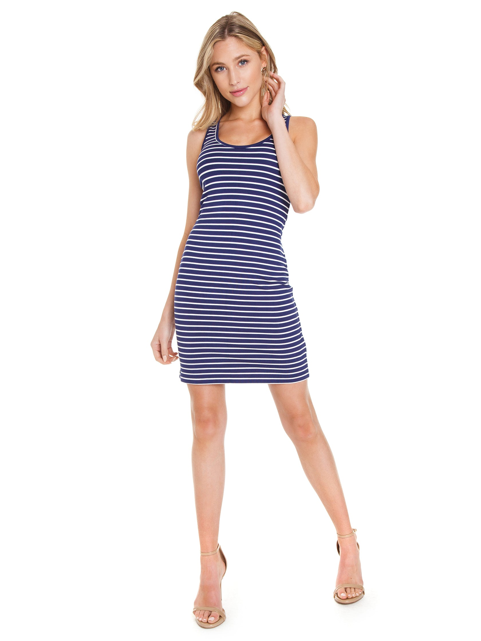 Girl outfit in a dress rental from BB Dakota called Summer Night City Striped Dress