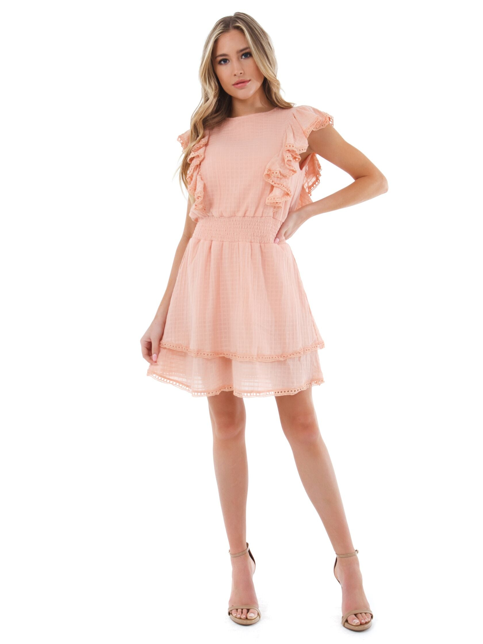 Girl outfit in a dress rental from SAGE THE LABEL called Summers Eve Ruffle Dress
