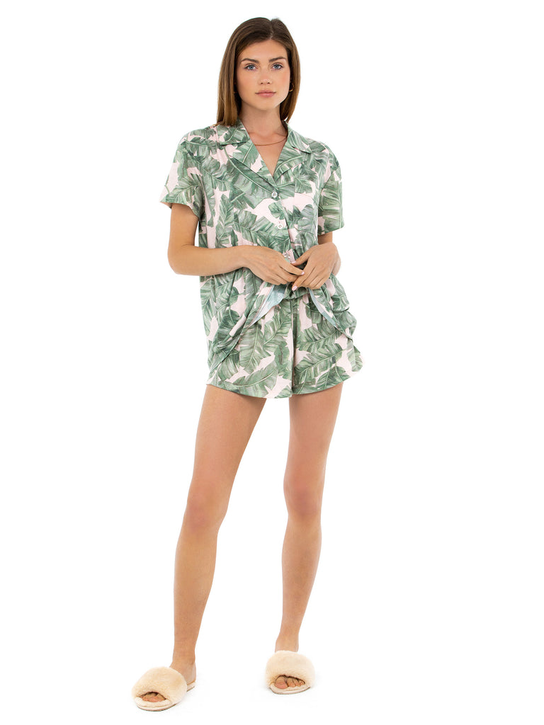 Women wearing a pajamas rental from Show Me Your Mumu called Sunday Morning Sleep Set