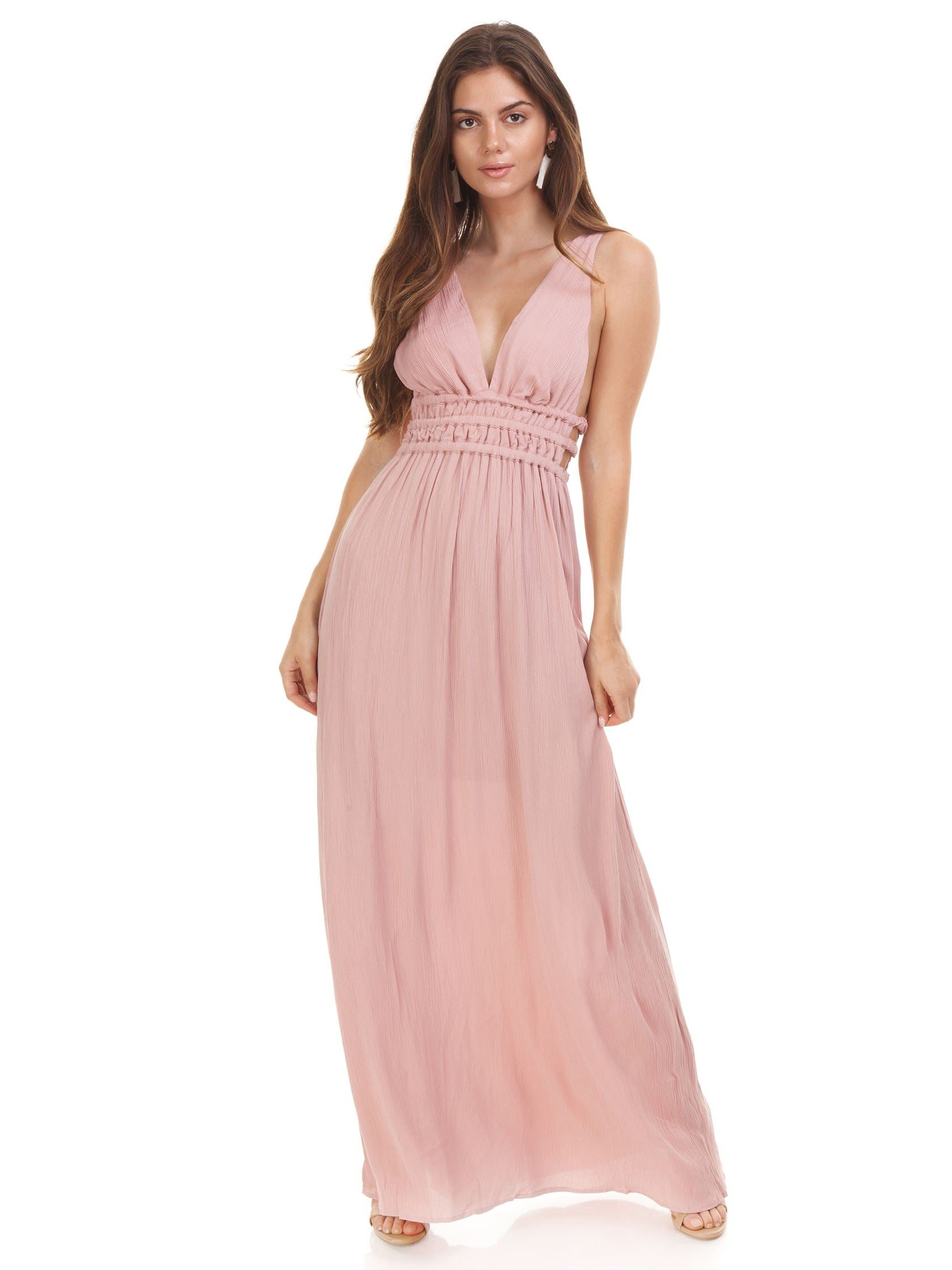 726ef1f34c8 Girl outfit in a dress rental from WAYF called Surrey Plunging Cut Out Maxi  Dress