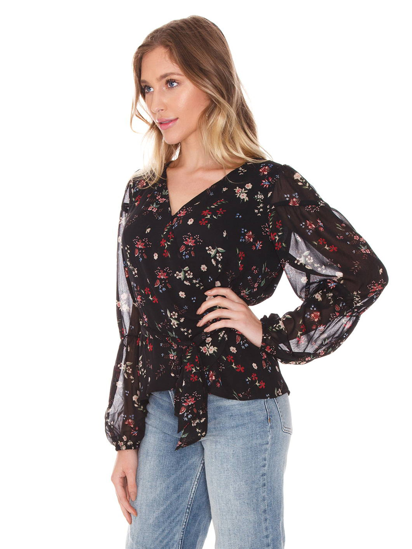 Women wearing a top rental from SANCTUARY called Surrey Wrap Blouse