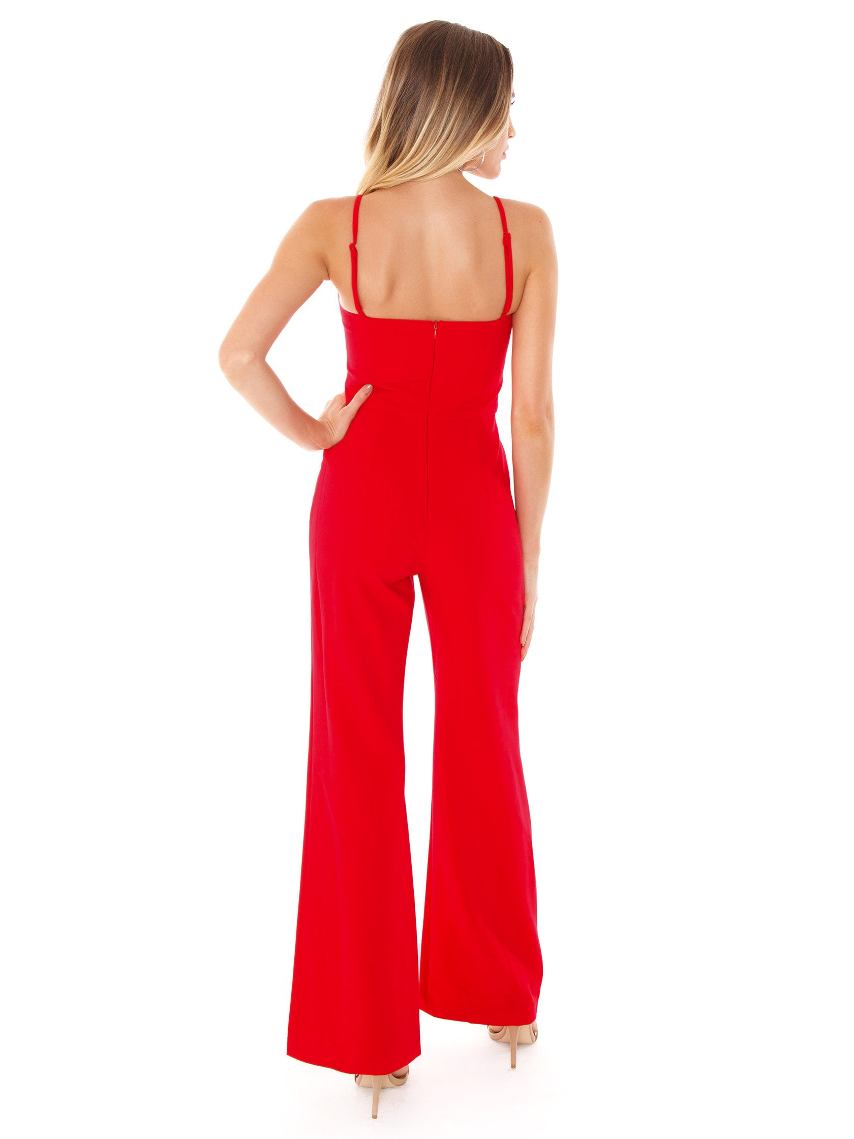 e47ab0bde2e Women wearing a jumpsuit rental from French Connection called Sweetheart  Whisper Jumpsuit