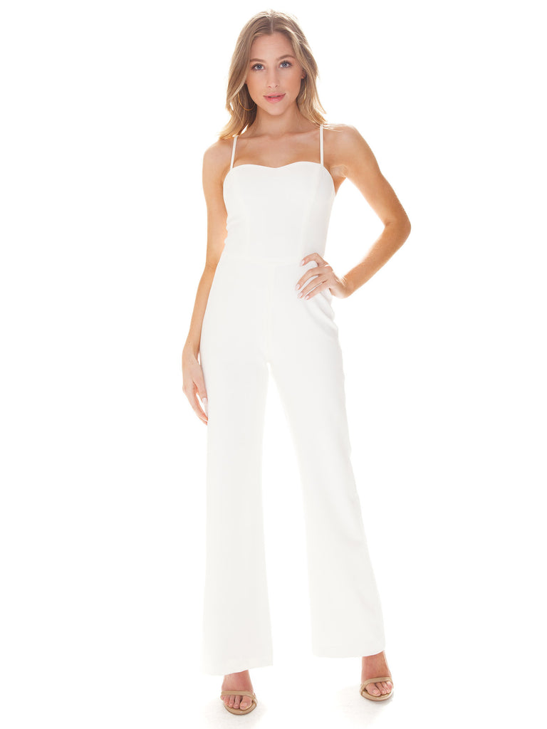 Women outfit in a jumpsuit rental from French Connection called Whisper Light Sweetheart Dress