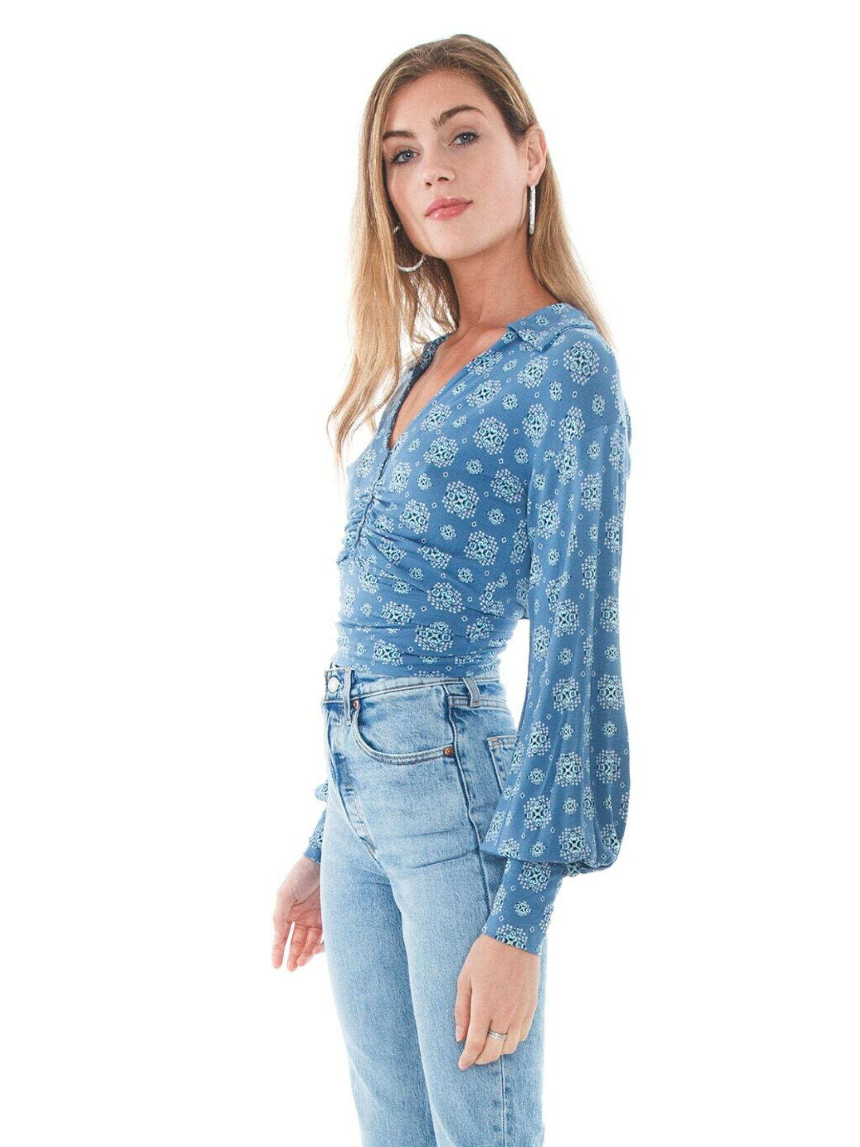 Women wearing a top rental from Free People called Sydney's Printed Top