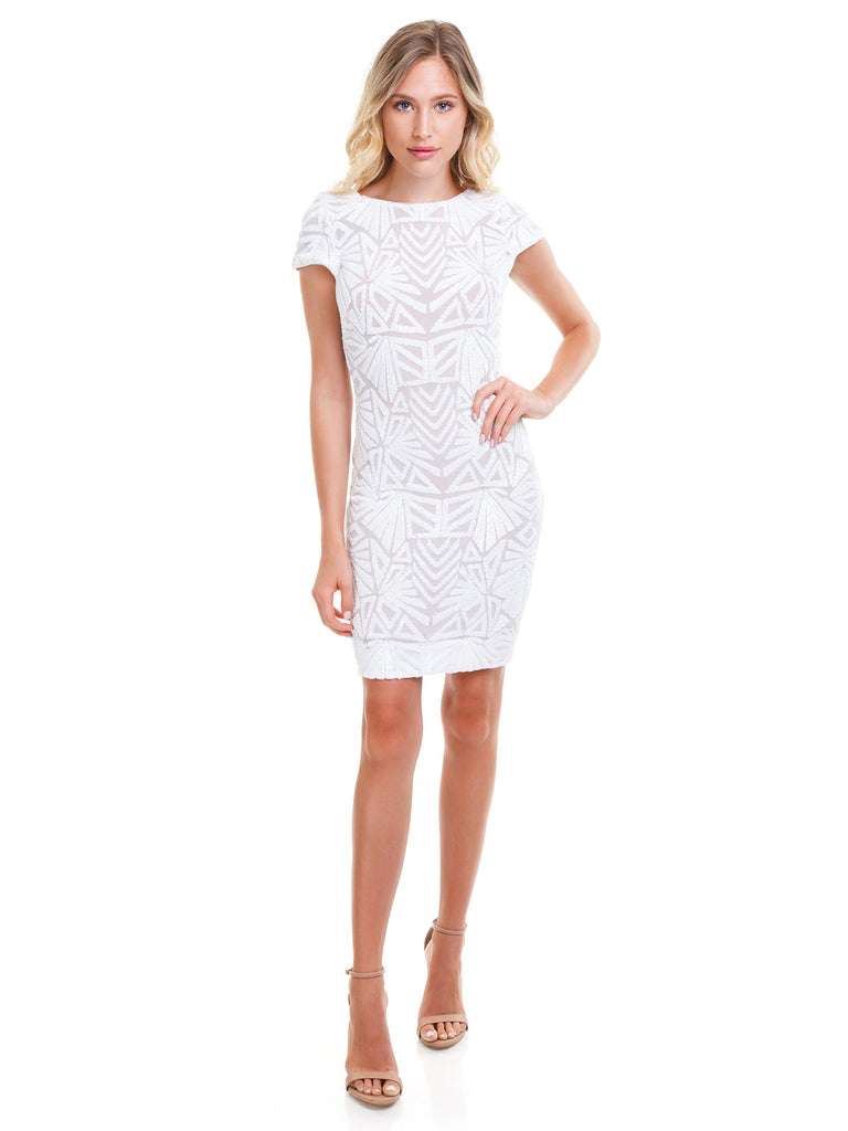 Women outfit in a dress rental from Dress the Population called Bachelorette Mini Dress