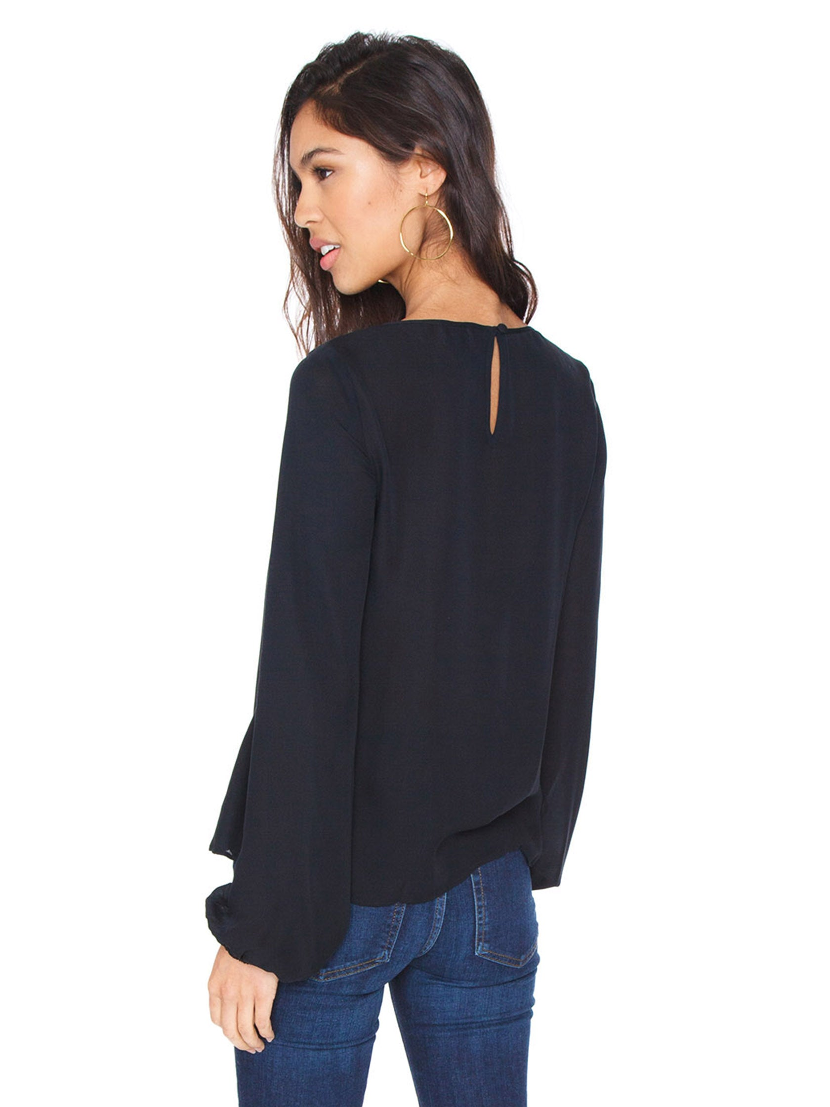 Women outfit in a top rental from Cami NYC called Tali Silk Blouse
