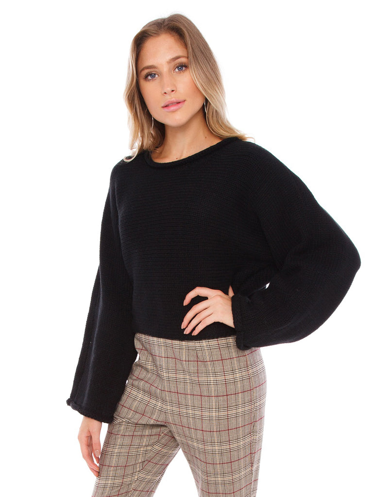 Women outfit in a sweater rental from BB Dakota called Ruffle Sleeve Striped Sweater