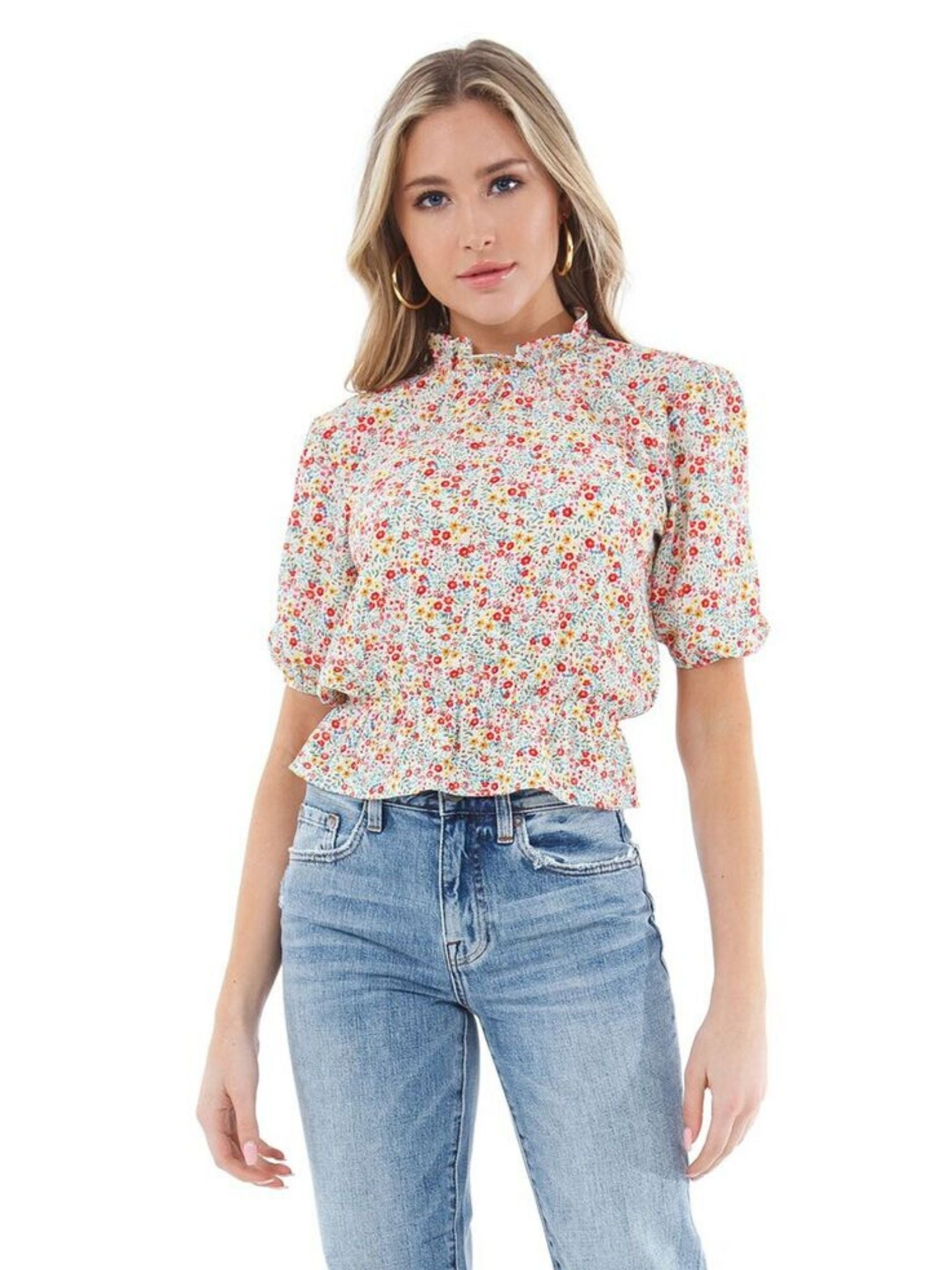 Woman wearing a top rental from BB Dakota called Tea Party Floral Crepe