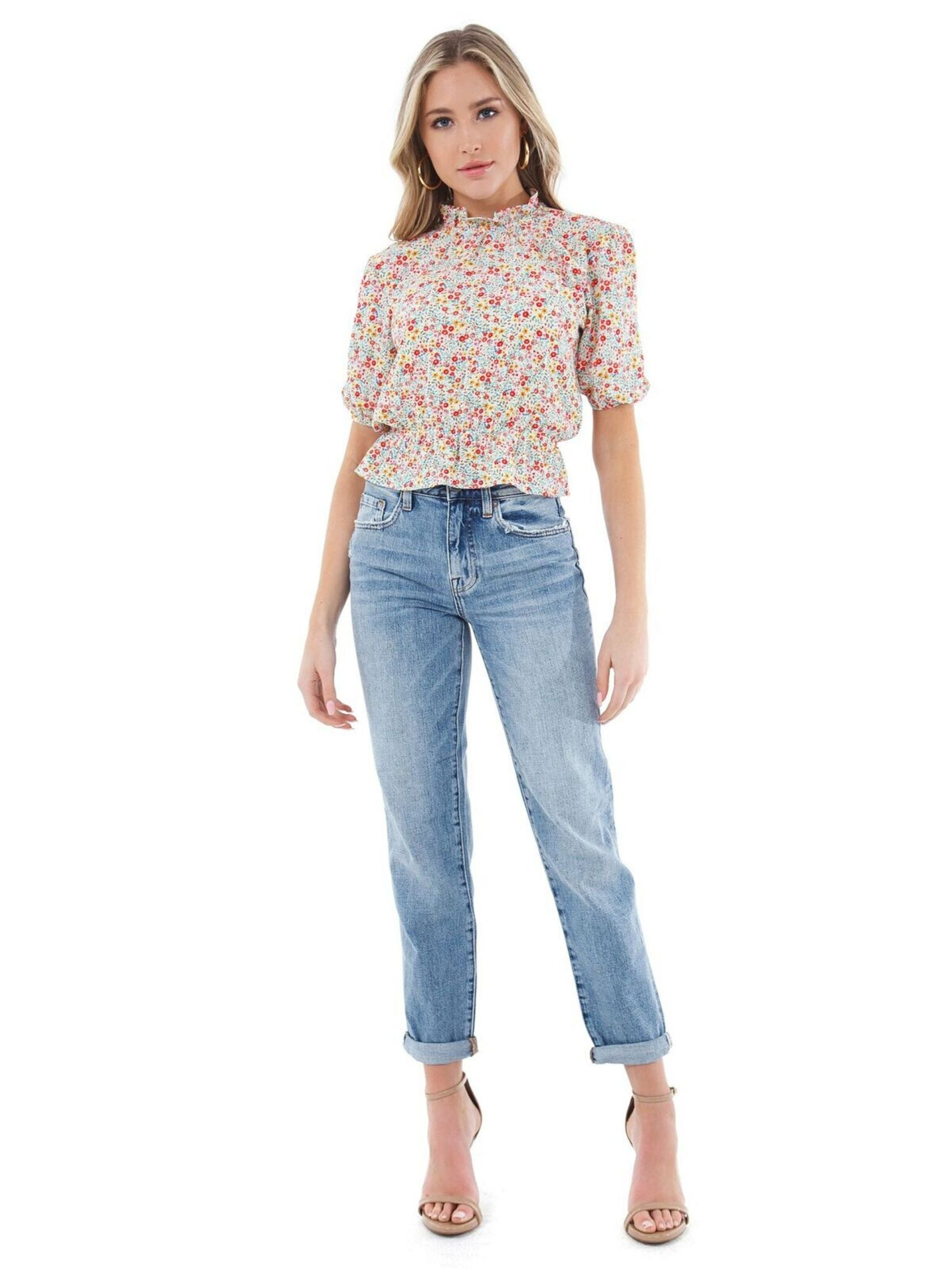 Girl wearing a top rental from BB Dakota called Tea Party Floral Crepe