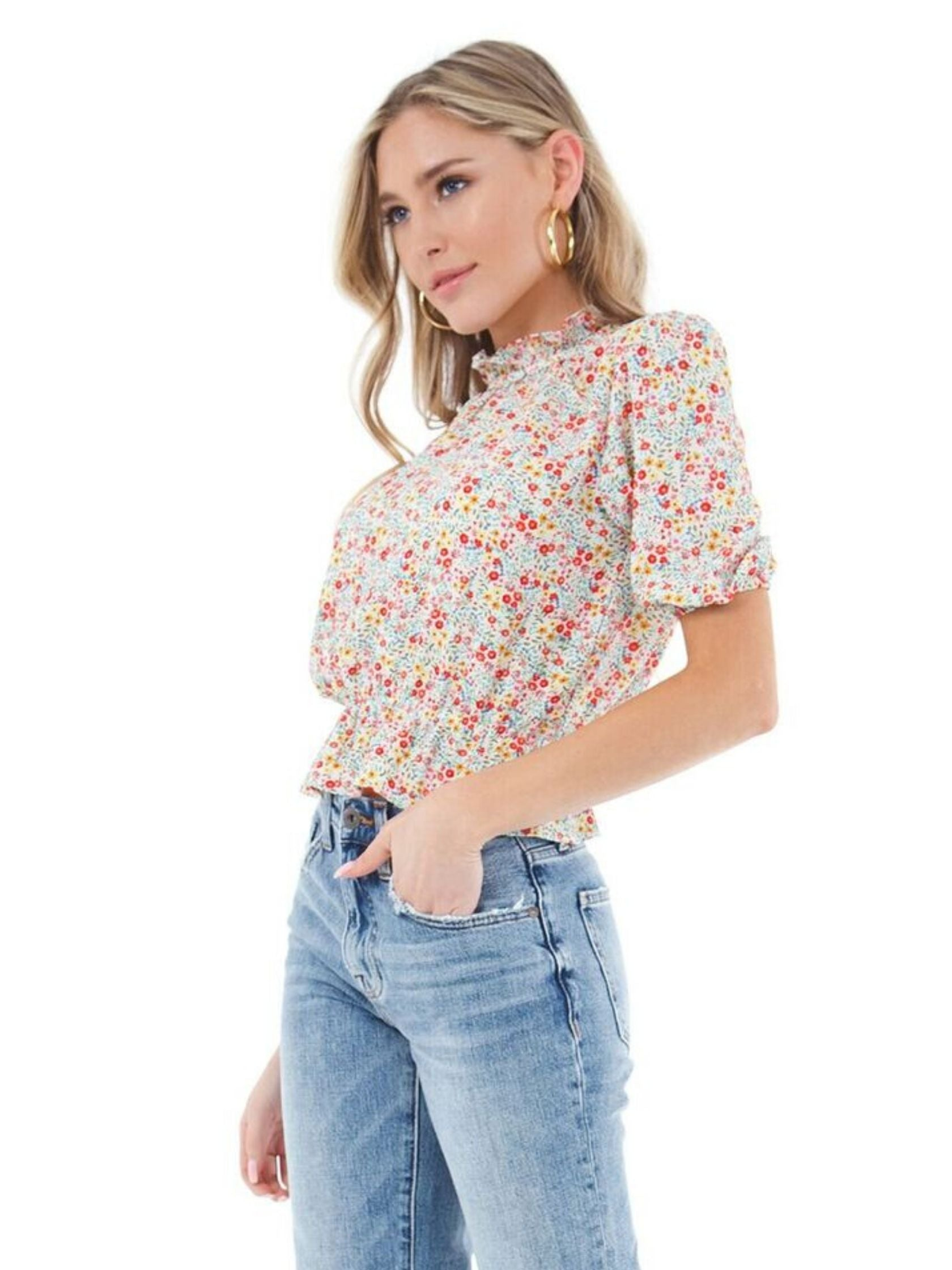Women wearing a top rental from BB Dakota called Tea Party Floral Crepe