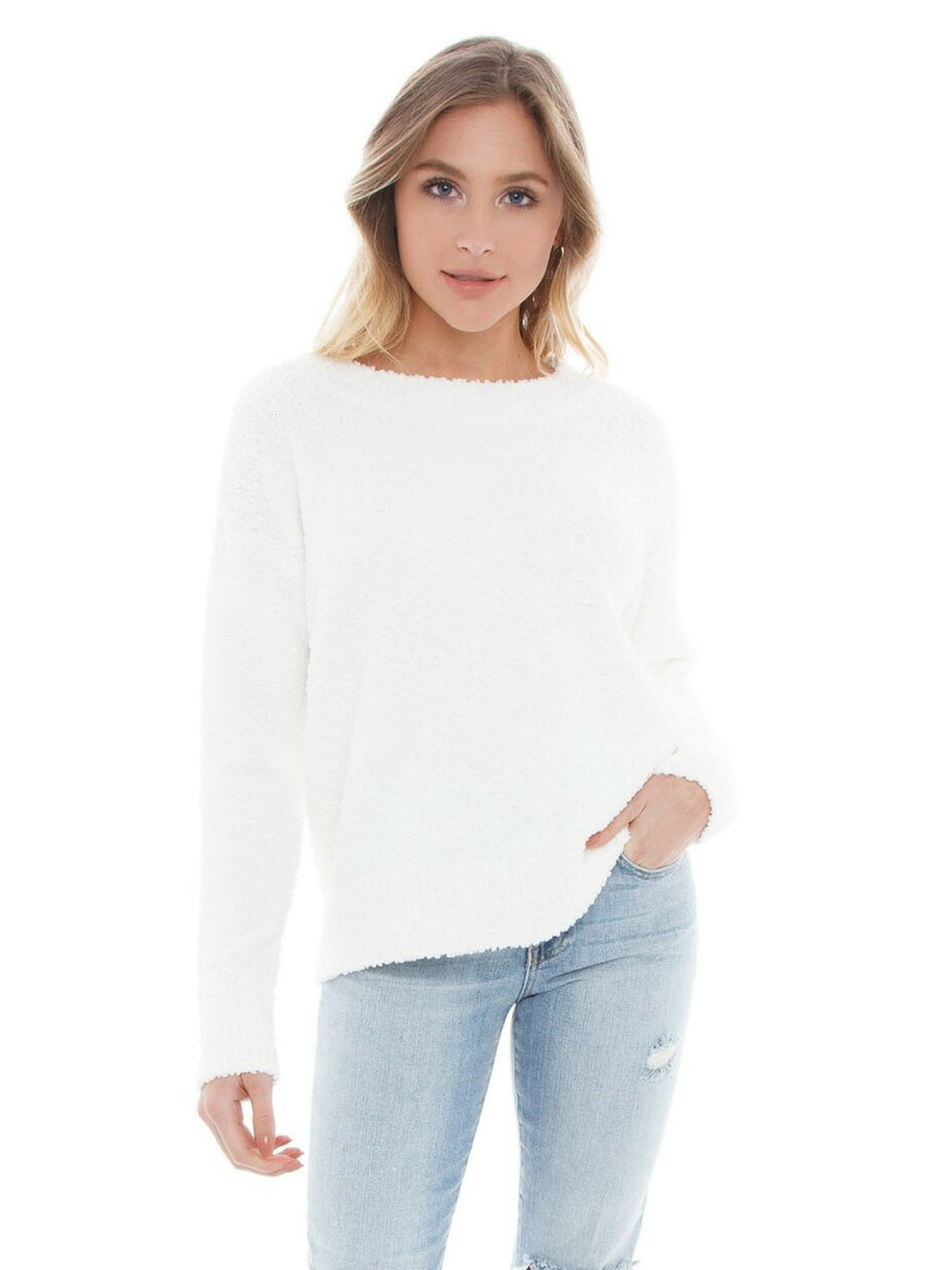 Woman wearing a sweater rental from SANCTUARY called Teddy Popover