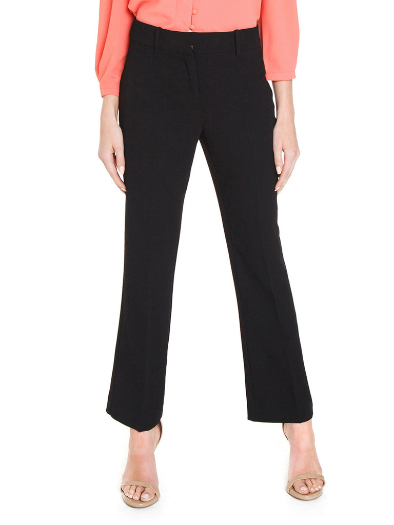 Women wearing a pants rental from 1.STATE called Textured Crepe Mini Kick Flare Pant