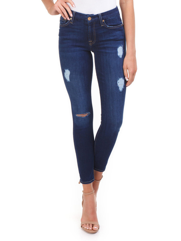 Women outfit in a denim rental from 7 For All Mankind called B(air) Skinny Ankle Jeans