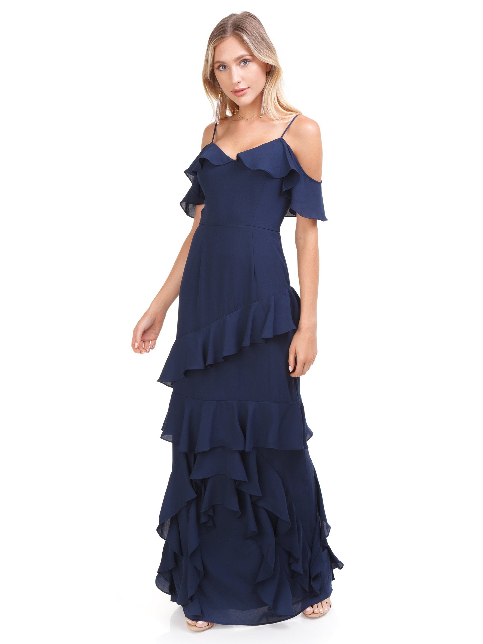 107c3d5ae53ca6 Women outfit in a dress rental from WAYF called Danielle Off Shoulder  Tiered Ruffle Maxi Dress