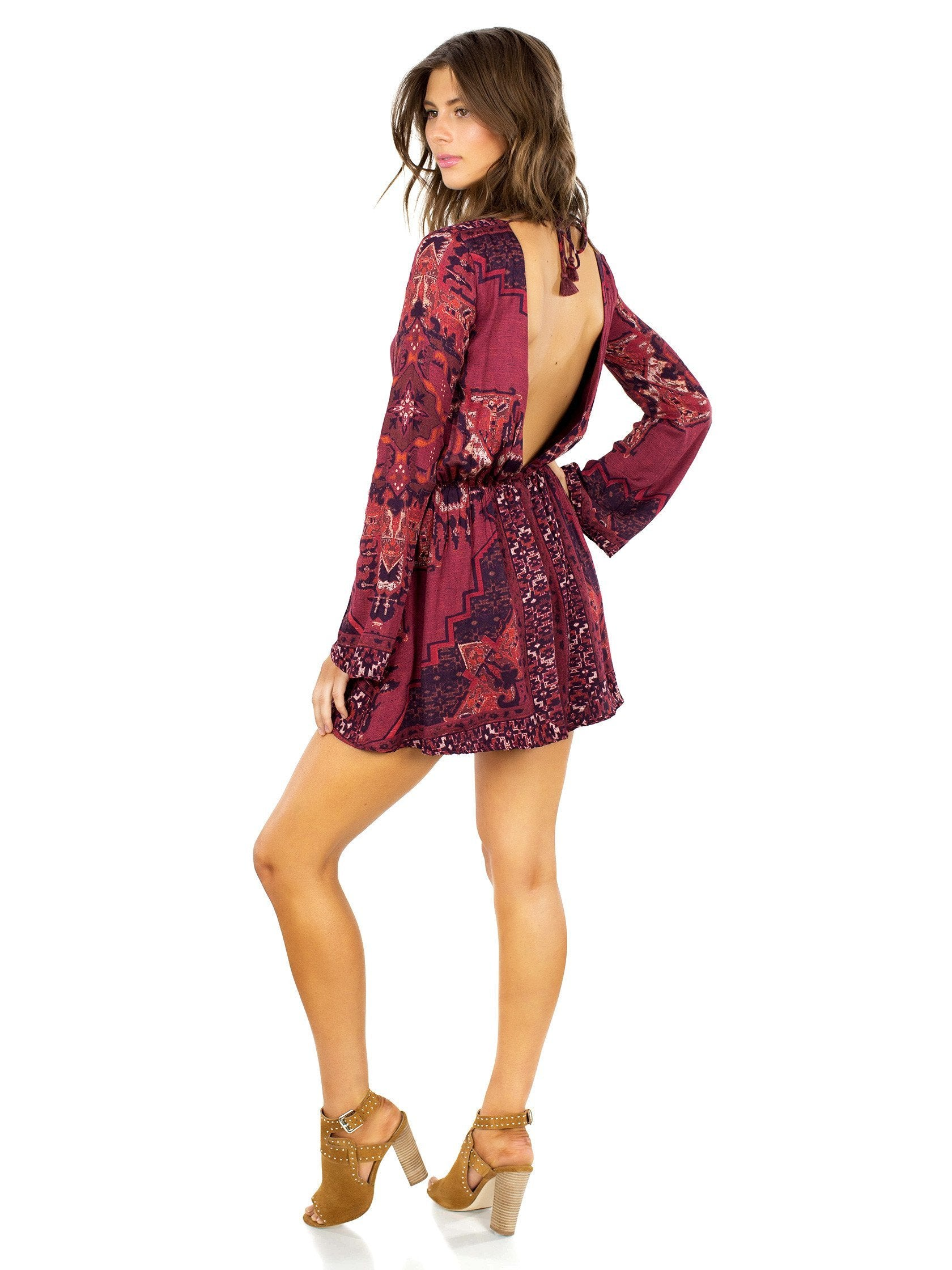 Women wearing a dress rental from The Jetset Diaries called Kilim Mini Dress