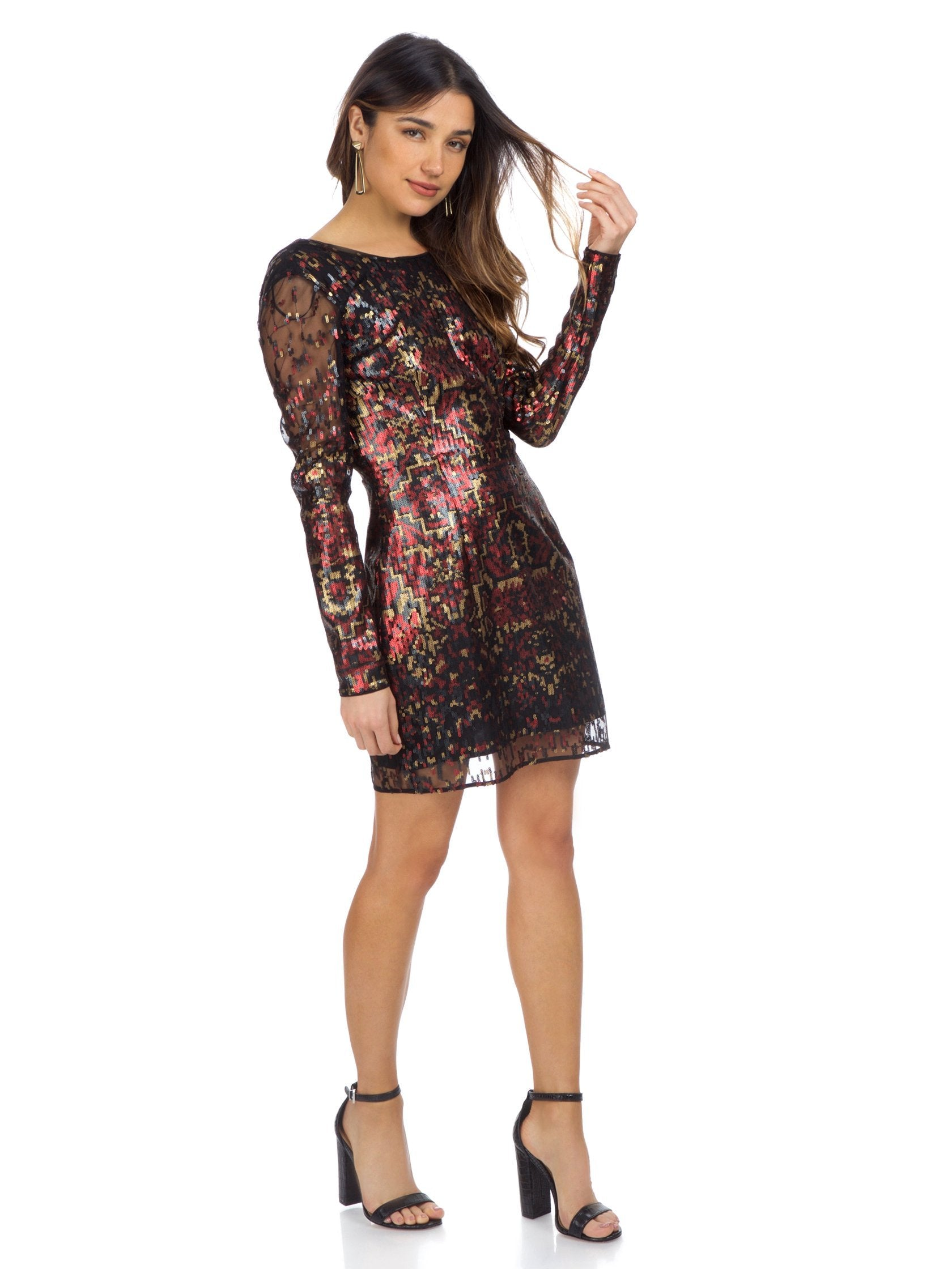 Woman wearing a dress rental from The Jetset Diaries called Tapestry Mini Dress
